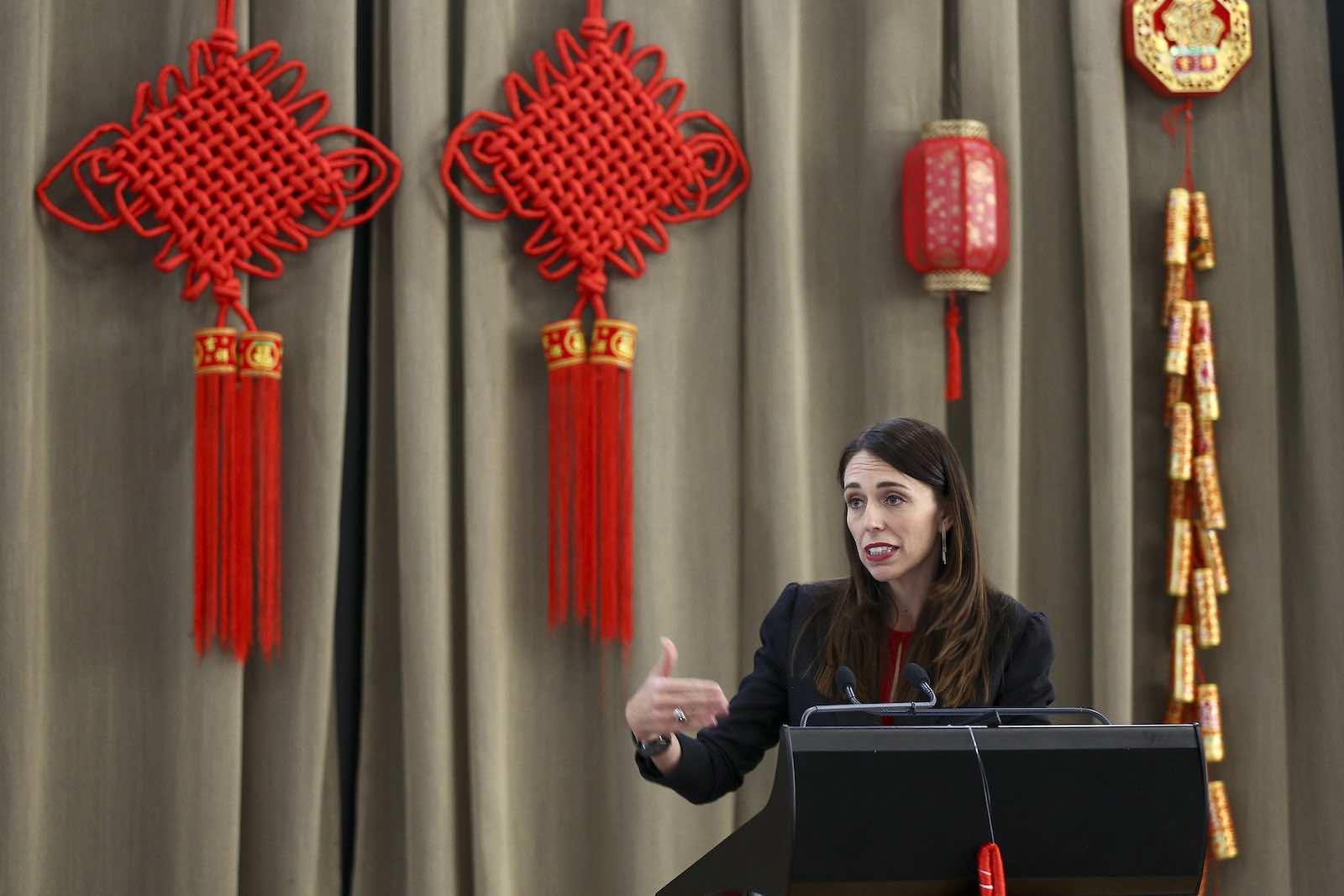 New Zealand Prime Minister Jacinda Ardern speaks during a Chinese New Year celebration in February in Wellington, New Zealand (Hagen Hopkins/Getty Images)