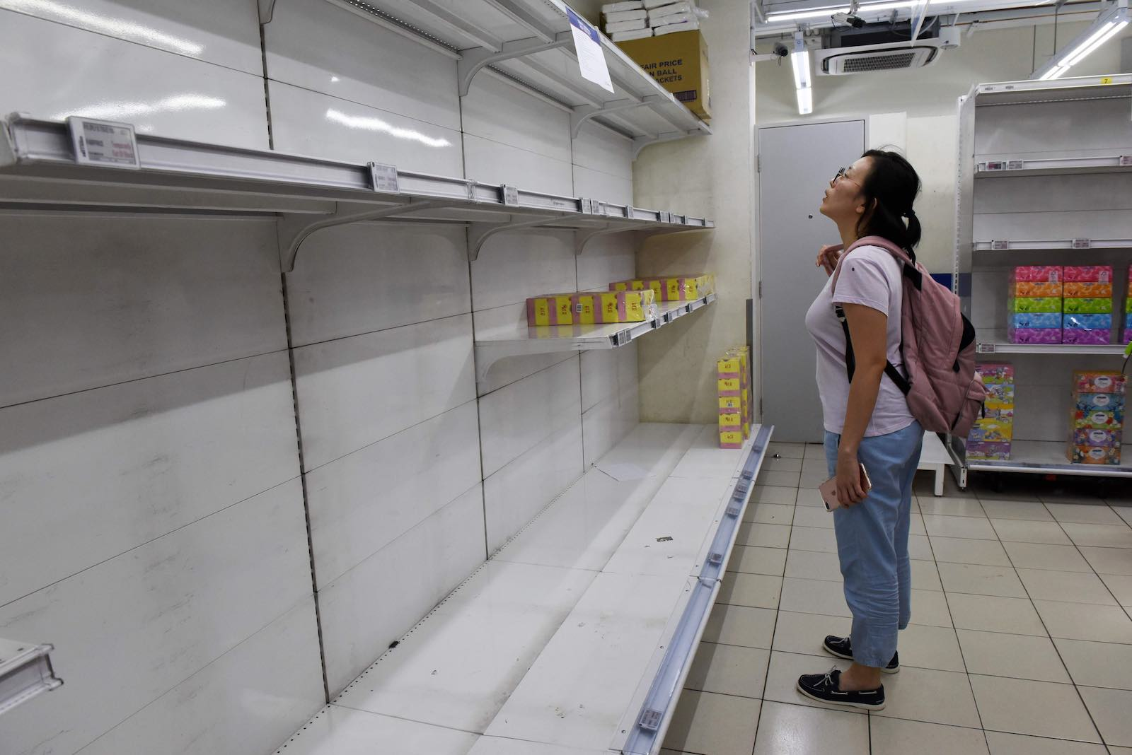 Empty shelves at a Singapore supermarket as the Covid pandemic spread in March 2020 (Catherine Lai/AFP via Getty Images)