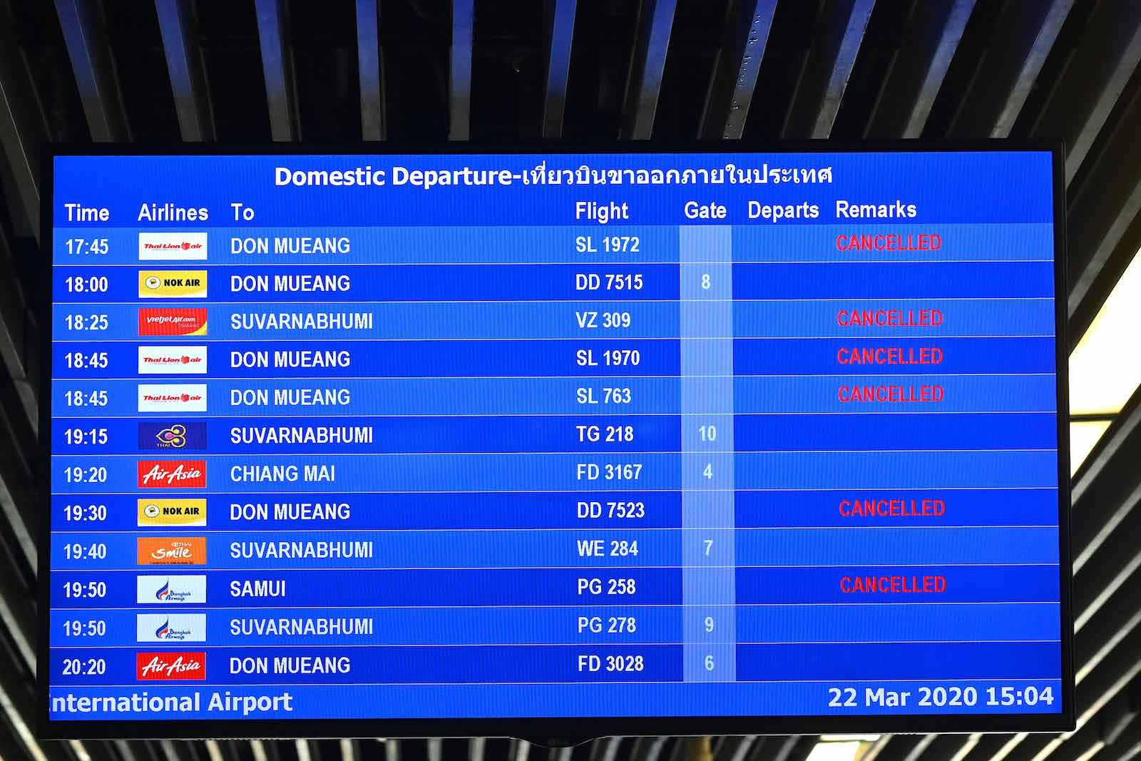 Flights in and out of popular tourist hotspots such as Phuket in Thailand are cancelled (Mladen Antonov/AFP/Getty Images)