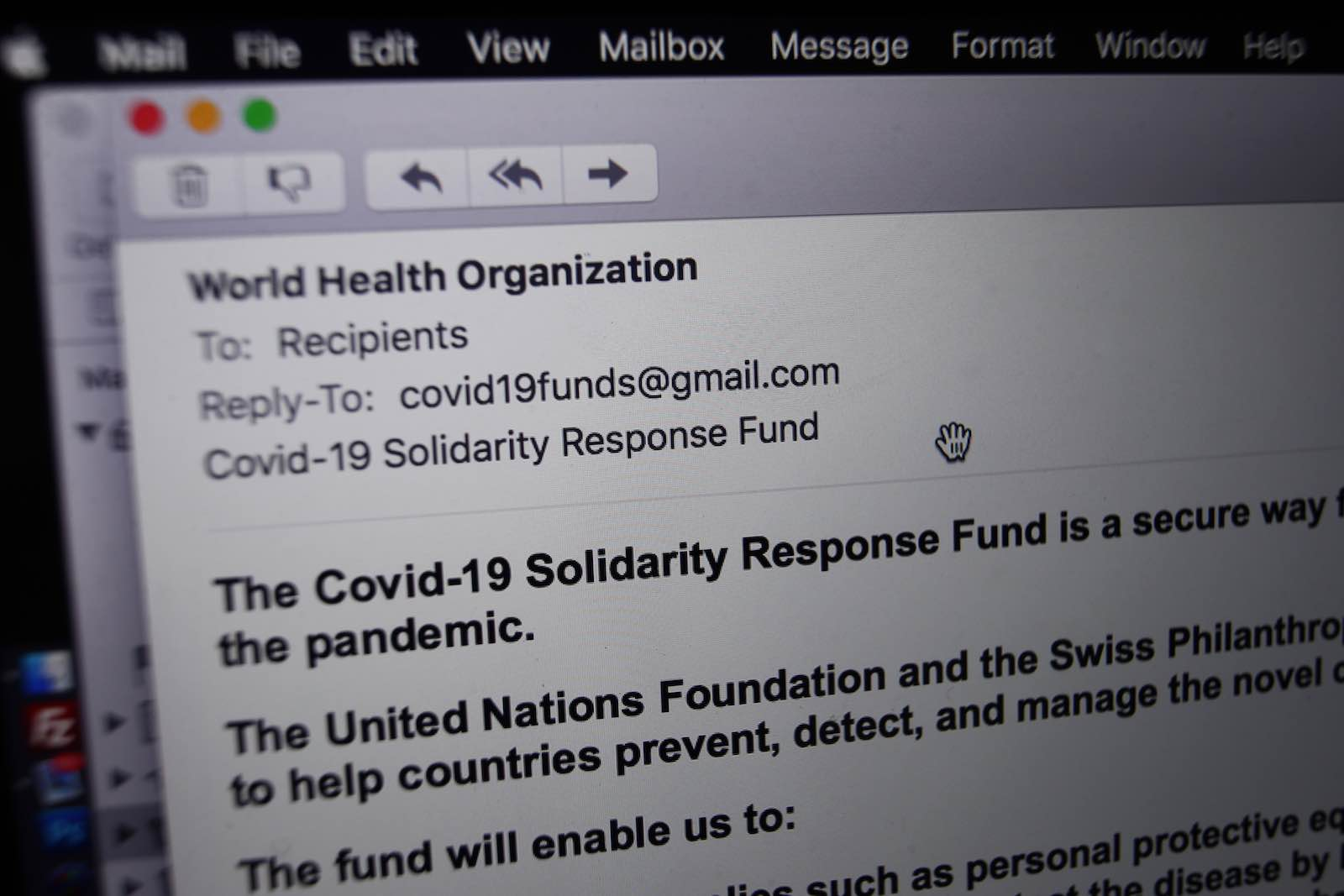 A phishing email from someone posing as the head of the World Health Organisation asking recipients to donate money to a coronavirus fund, received in London (Photo by Yui Mok/PA Images via Getty Images)