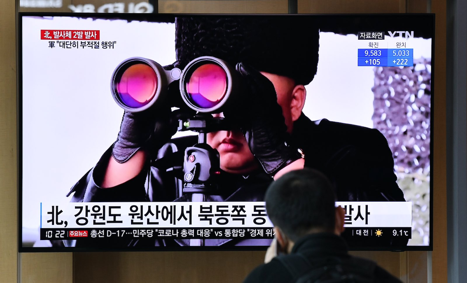 Watching North Korean leader Kim Jong-un watching a missile launch, 29 March 2020 (Jung Yeon-je/AFP via Getty Images)
