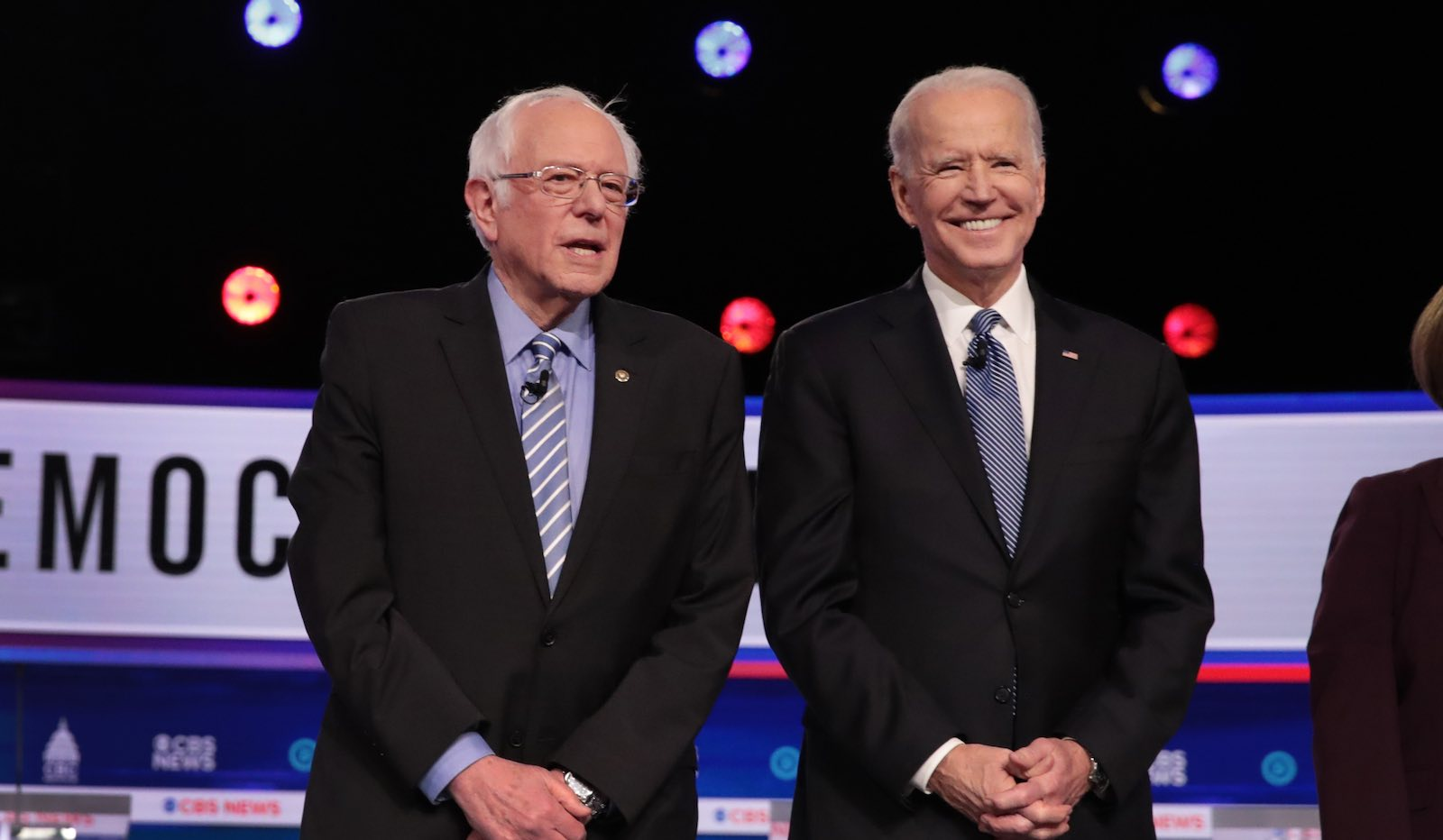 Democratic presidential candidates Bernie Sanders (l) and Joe Biden before a debate in Charleston, South Carolina, 25 February (Scott Olson/Getty Images)