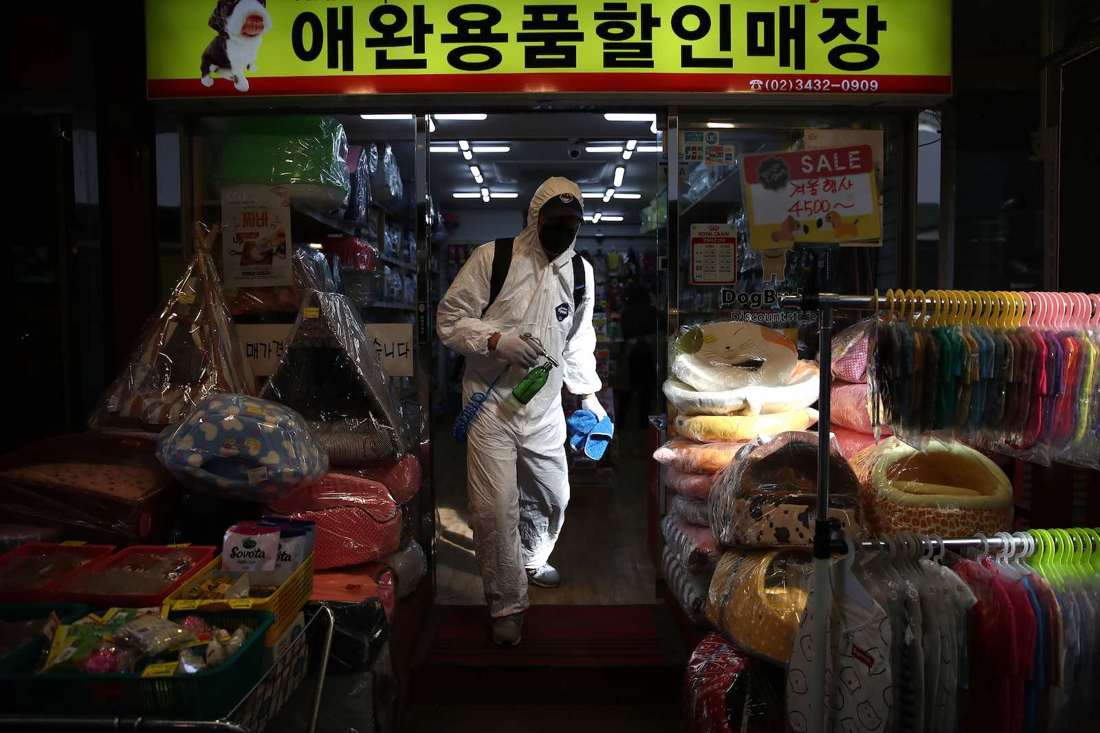Disinfection against the coronavirus in a Seoul market (Chung Sung-Jun/Getty Images)