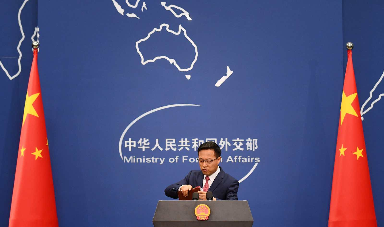 China's Foreign Ministry spokesman Zhao Lijian (Greg Barker/AFP via Getty Images)