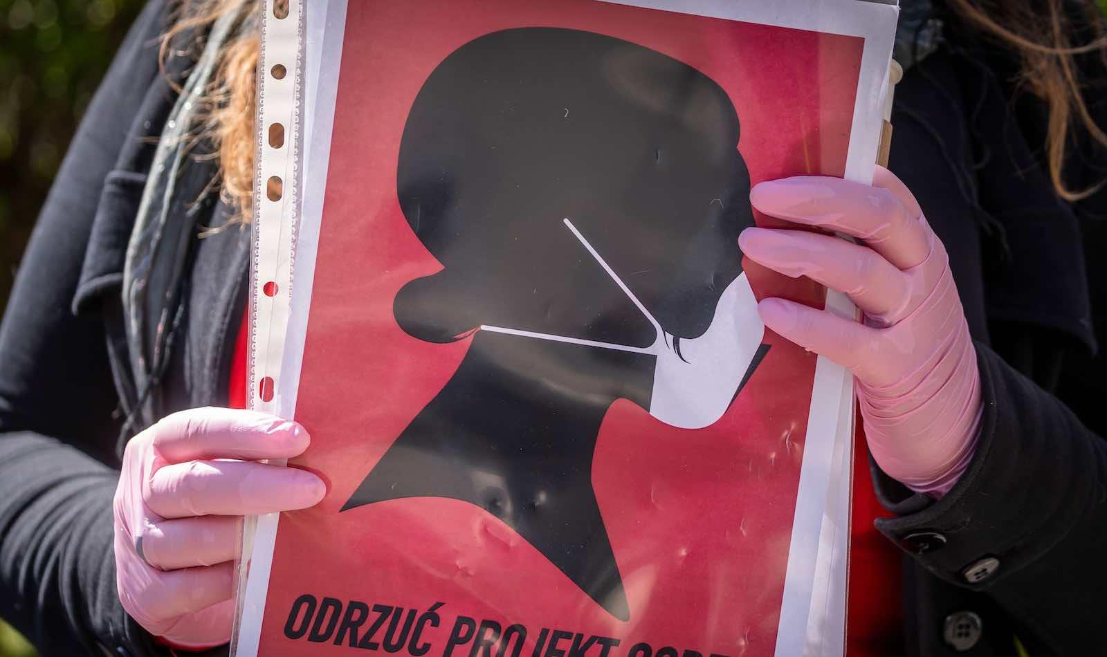 Demonstrators in Poland protest further curbs on reproductive rights amid coronavirus lockdown (Wojtek Radwanski/AFP/Getty Images)