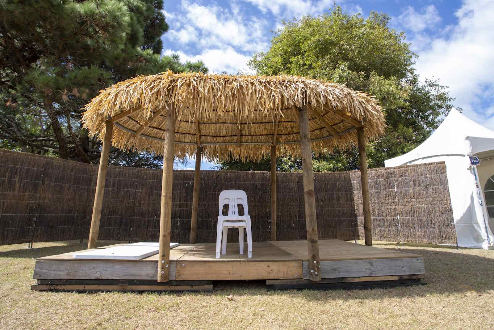 An abandoned stage at the annual Pasifika festival in Auckland last month which had been a showcase of regional culture only to be cancelled over Covid-19 fears (Dave Rowland/Getty Images)