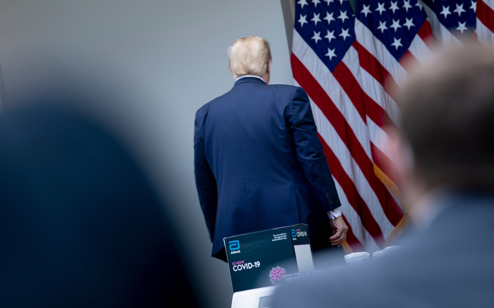 US President Donald Trump walks out of a news conference on Covid-19 held in the Rose Garden of the White House, Washington, 11 May (Brendan Smialowski/AFP via Getty Images)