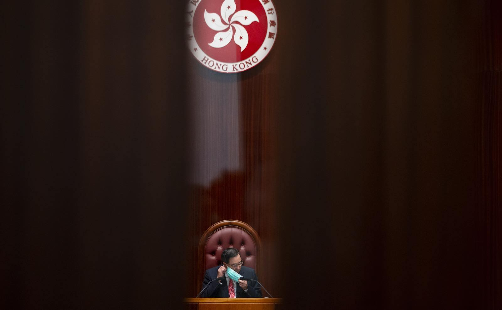 At the Legislative Council in Admiralty, in Hong Kong (Miguel Candela /Anadolu Agency via Getty Images)