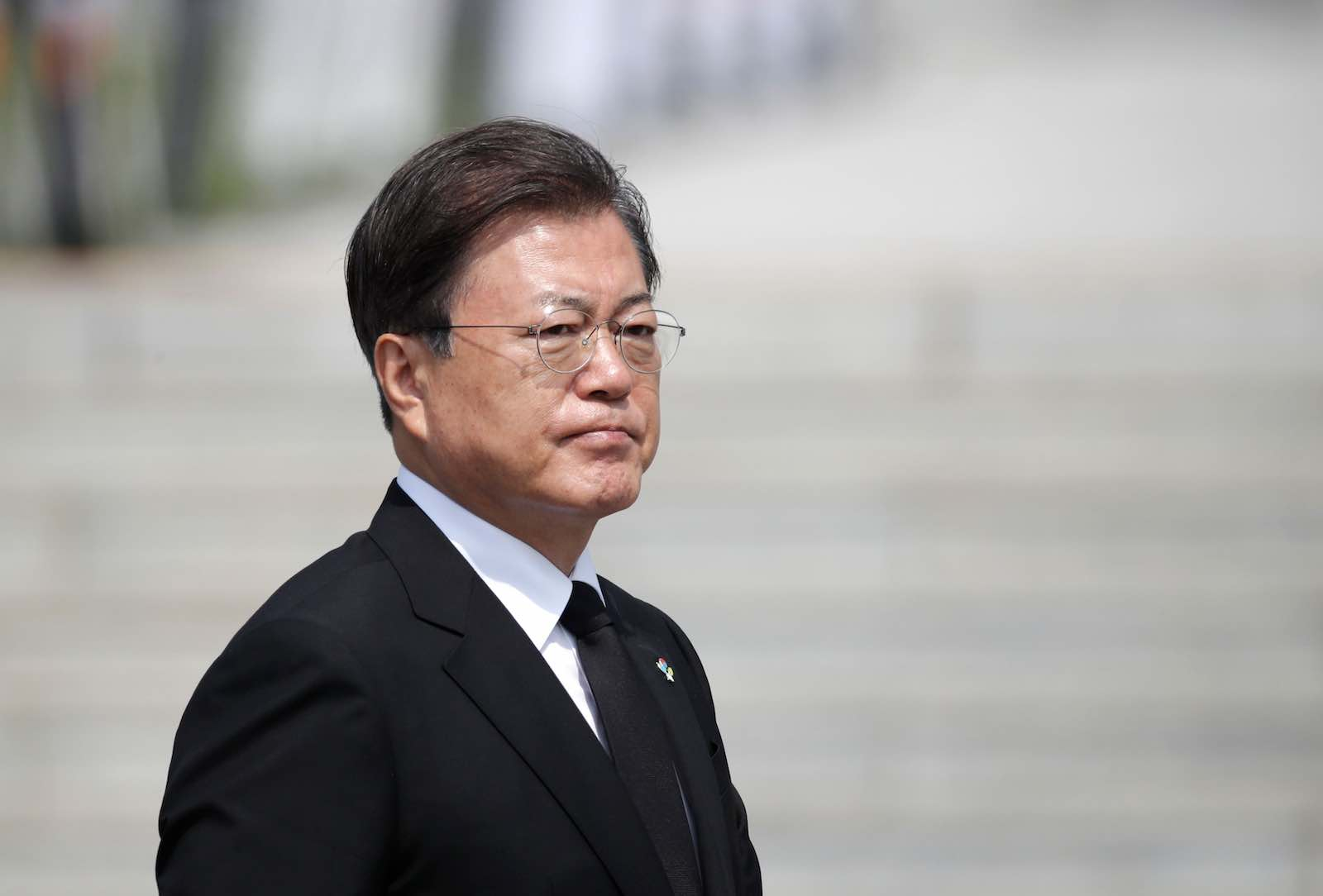 South Korean President Moon Jae-in attends a Memorial Day ceremony at the national cemetery in Daejeon on 6 June 2020 (Lee Jin-man/AFP/Getty Images)
