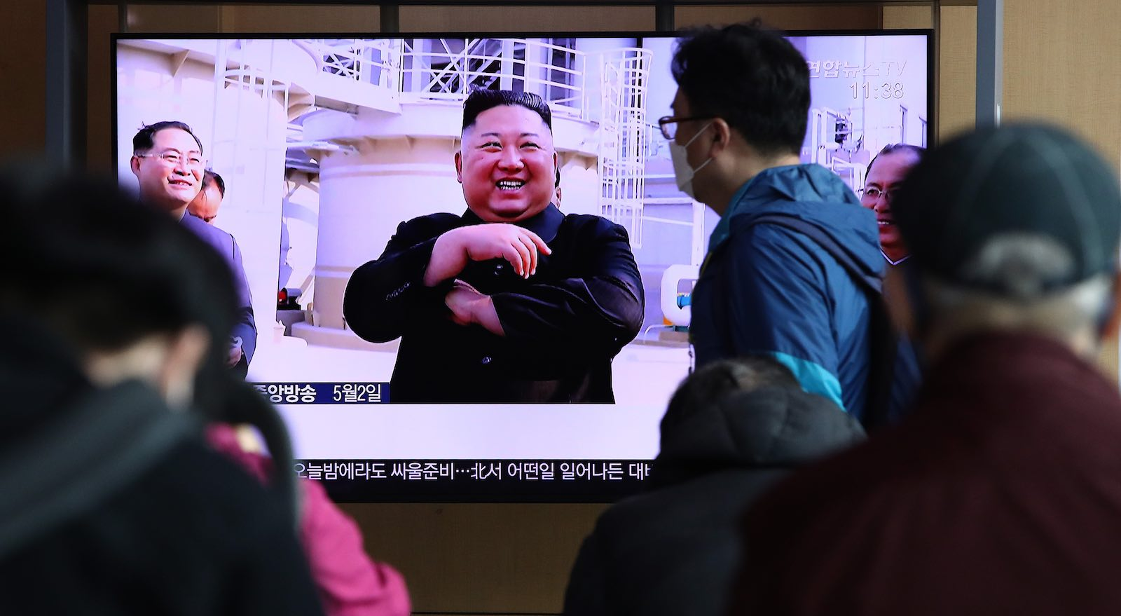North Korean leader Kim Jong-un seen on televisions in South Korea on 2 May (Chung Sung-Jun/Getty Images)