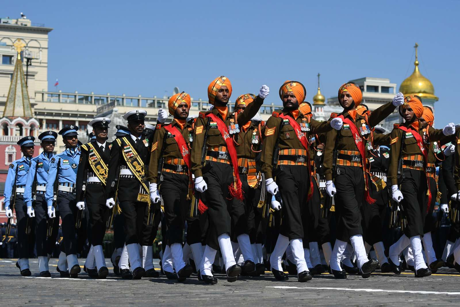 Servicemen of the Armed Forces of India march during a Victory Day military parade in Red Square marking the 75th anniversary of the victory in Second World War on 24 June 2020 in Moscow, Russia (Ramil Sitdikov via Getty Images)