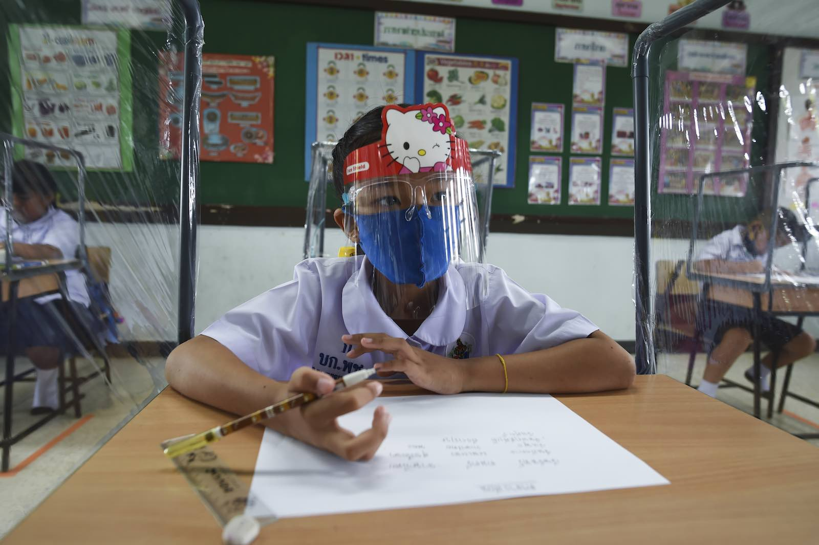 First day of school after the Thai government eased isolation measures to prevent the spread of the coronavirus, 1 July 2020 in Bangkok (Anusak Laowilas/NurPhoto via Getty Images)