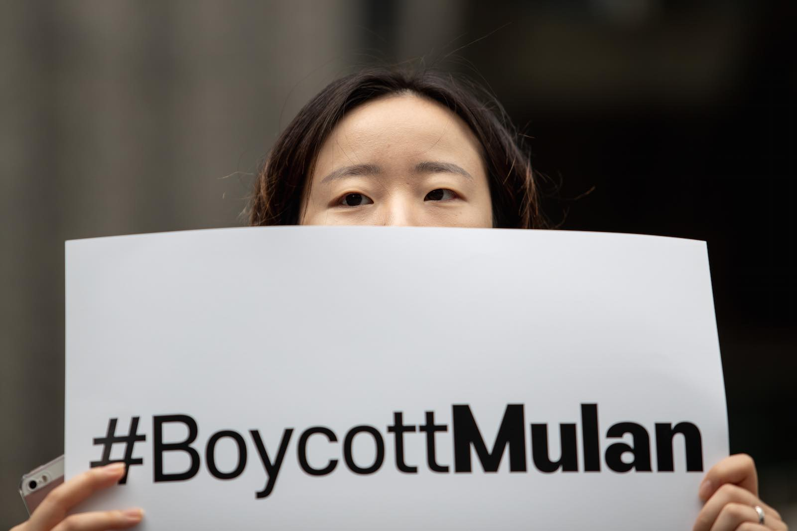 A demonstrator in South Korea in July calling for a boycott of the new Disney film Mulan (Chris Jung/NurPhoto via Getty Images)