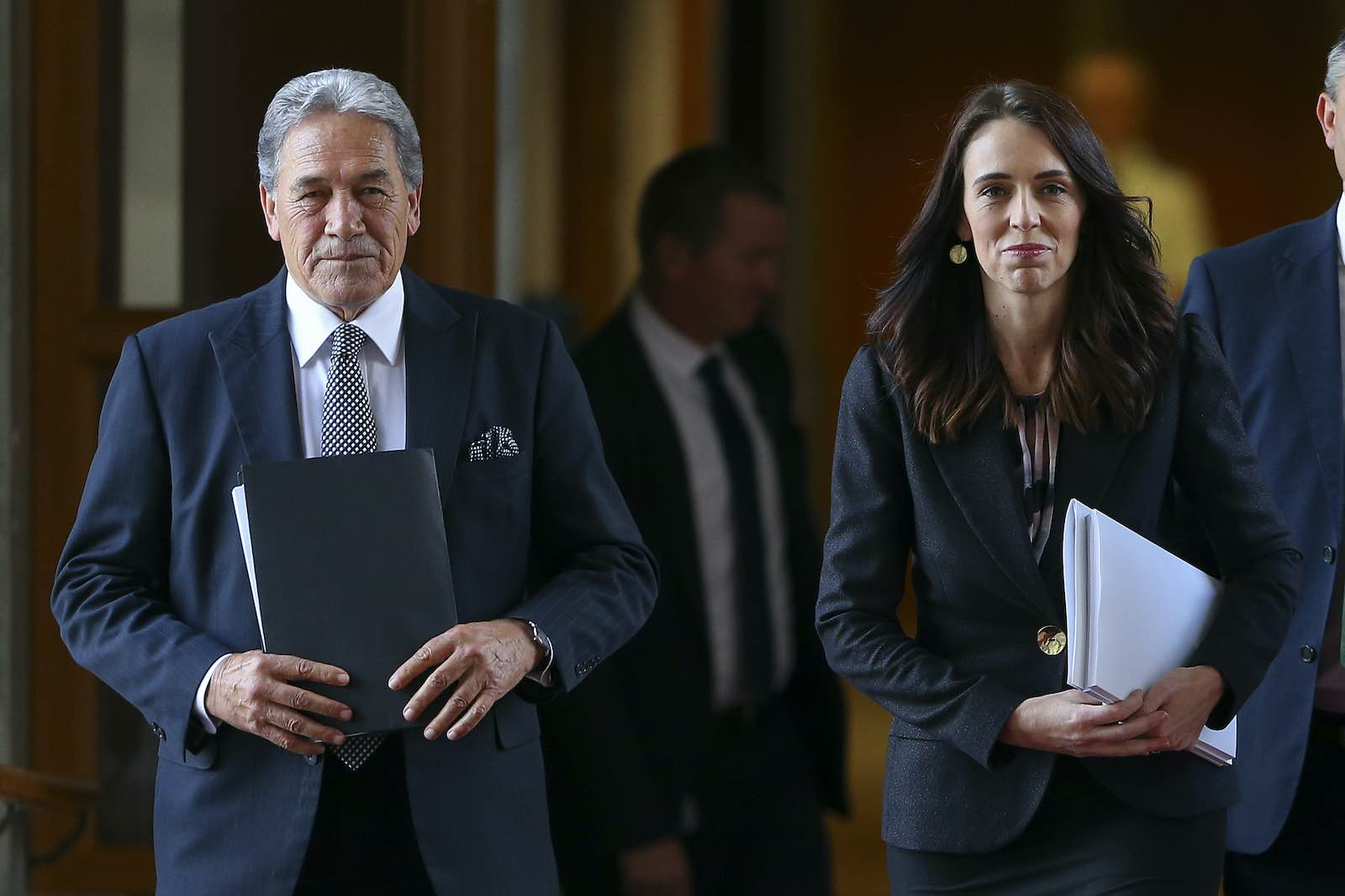 Foreign Minister Winston Peters and Prime Minister Jacinda Ardern before the New Zealand budget in May (Hagen Hopkins/Getty Images)