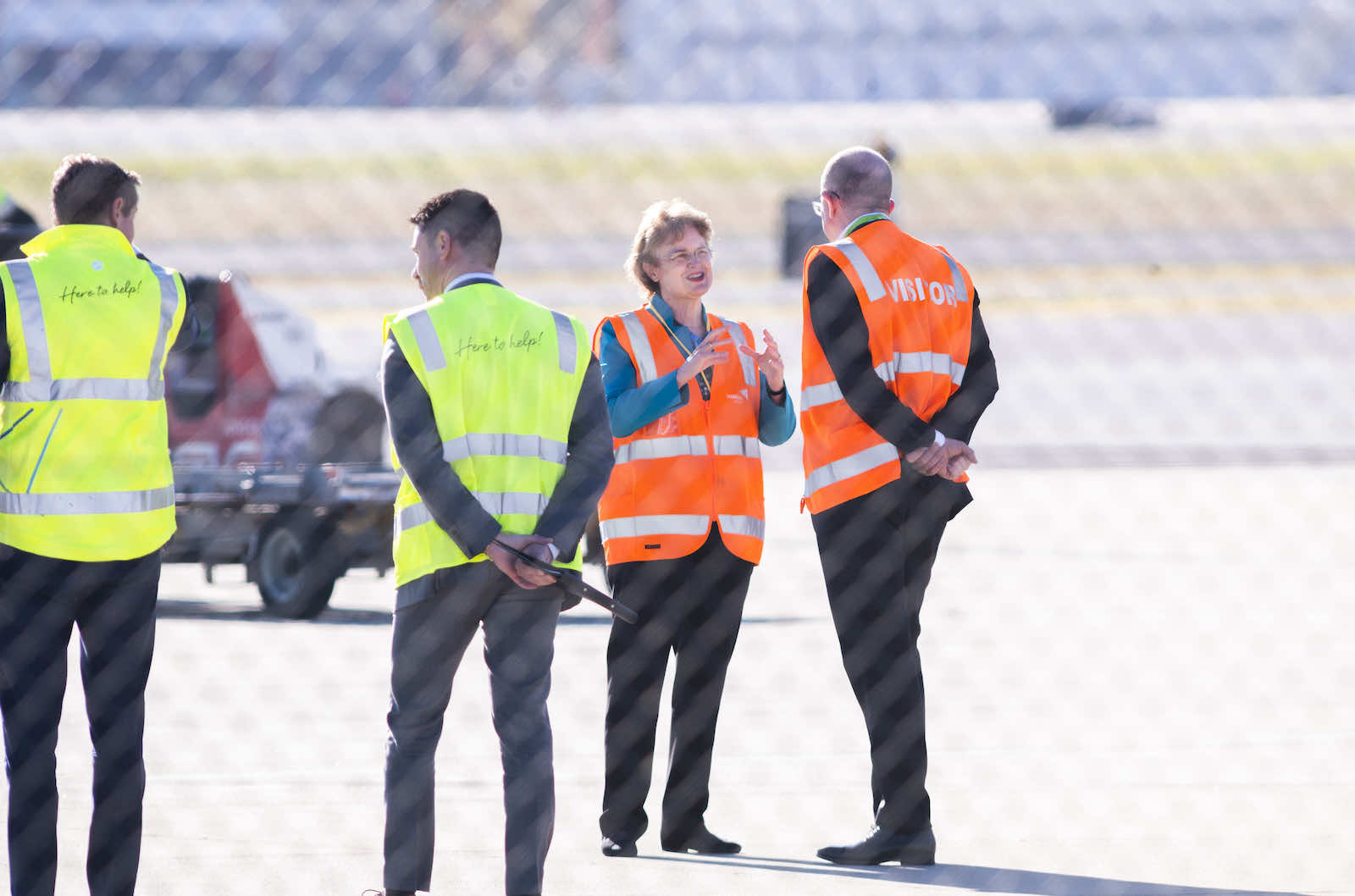 Frances Adamson, then secretary of the Department of Foreign Affairs and Trade, at Canberra Airport waiting for Covid-19 repatriation flights in May 2020 (Rohan Thomson/Getty Images)