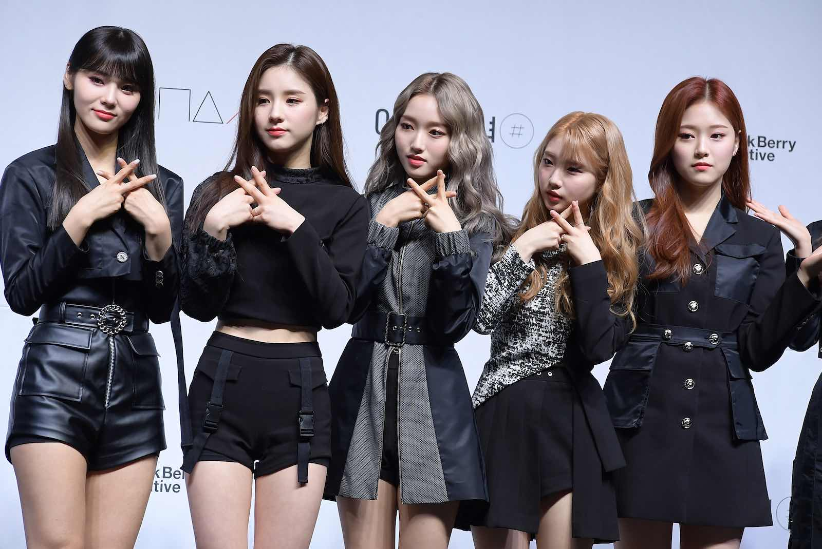 South Korean girl group LOONA promoting an album in February: K-pop superfans are ever active online (The Chosunilbo JNS via Getty Images)