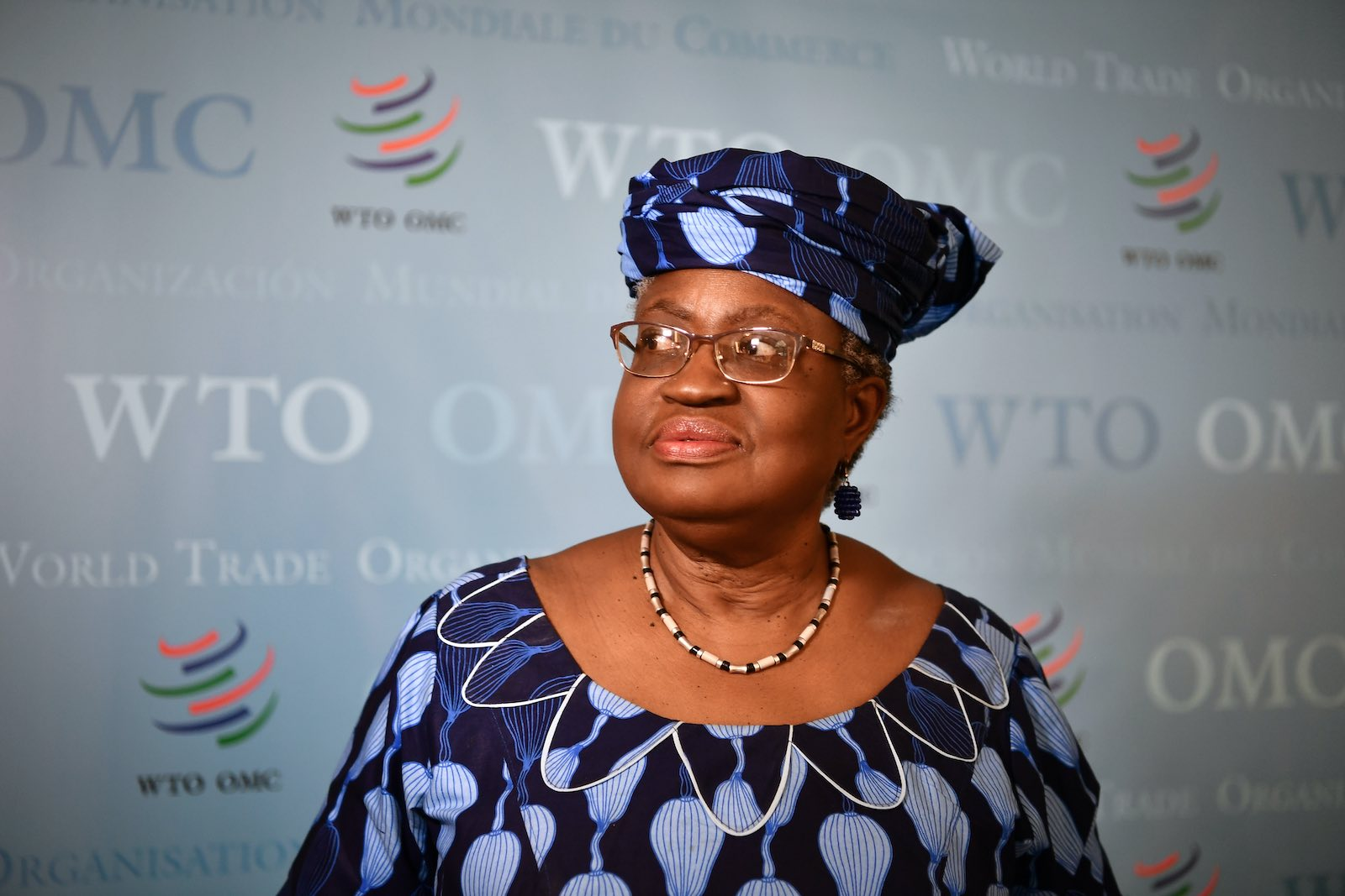 Nigerian former foreign and finance minister Ngozi Okonjo-Iweala at WTO headquarters in Geneva, 15 July 2020 (Fabrice Coffrini/AFP via Getty Images)