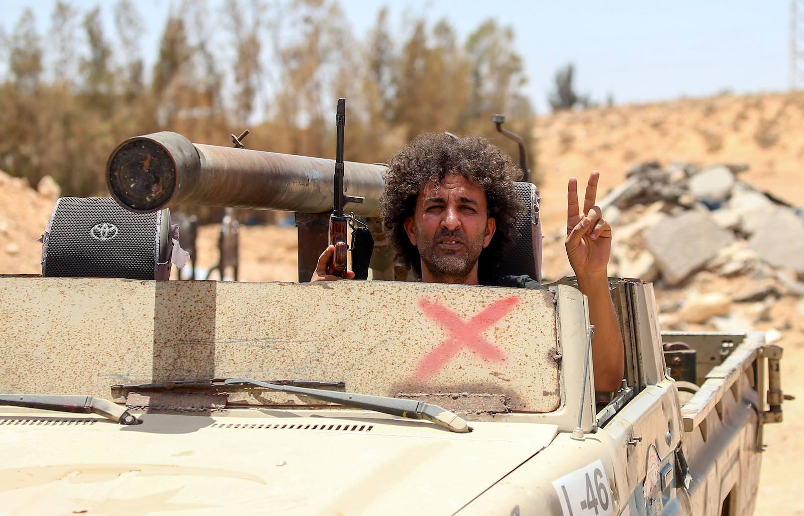 A GNA-aligned fighter in Abu Qurain, Libya (Mahmud Turkia/AFP via Getty Images)