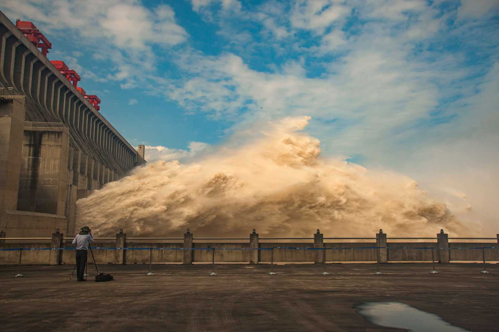 Flood water is released on 19 July from the Three Gorges Dam, the gigantic hydropower project on the Yangtze river (STR/AFP/Getty Images)