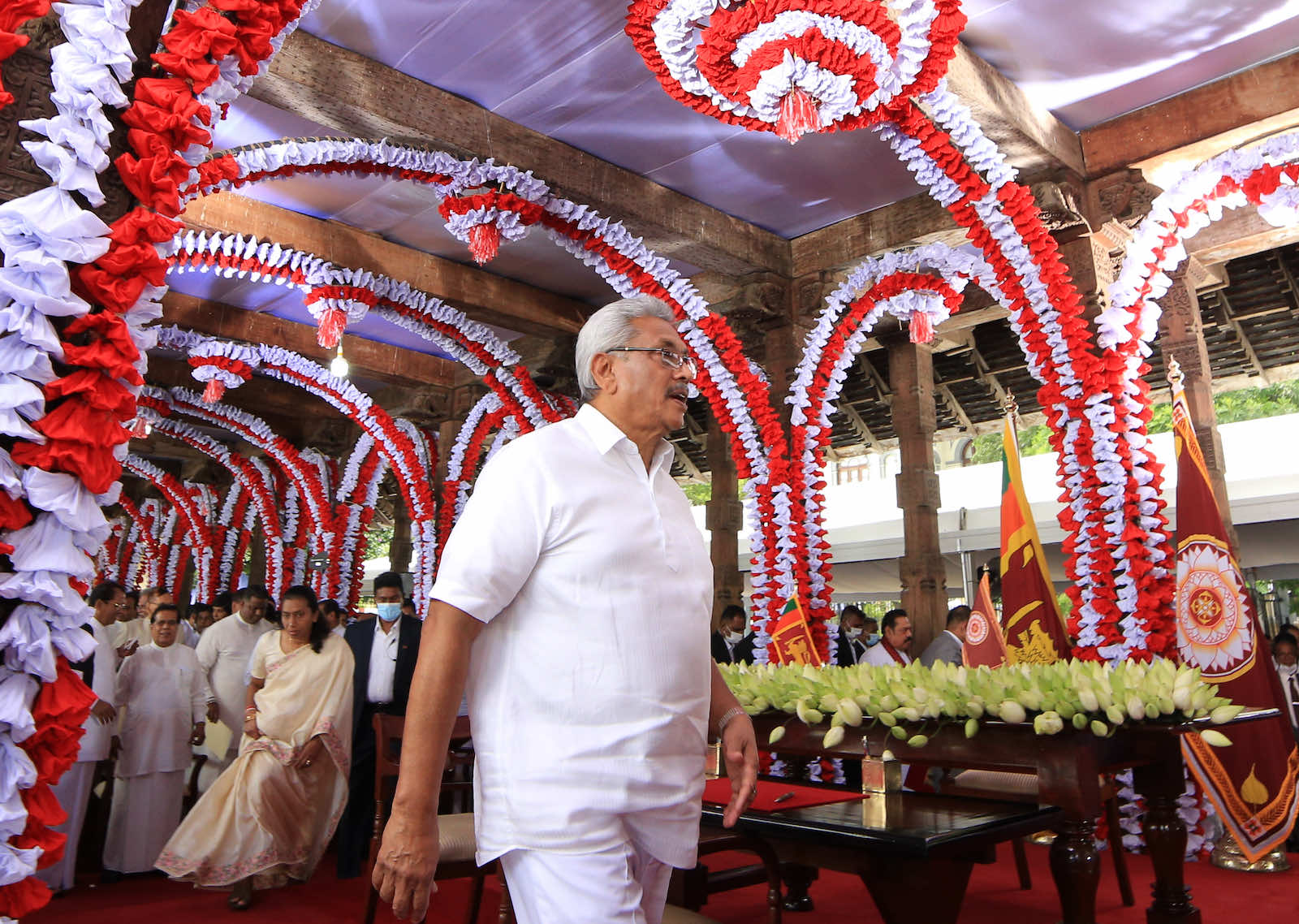 Sri Lanka's President Gotabaya Rajapaksa after the swearing in of the new cabinet ministers in August 2020 (Tharaka Basnayaka/NurPhoto via Getty Images)