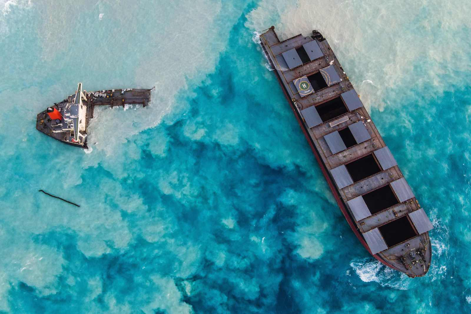 The Japanese-owned bulk carrier MV Wakashio which ran aground last month and broke apart near Blue Bay Marine Park, Mauritius (AFP via Getty Images)