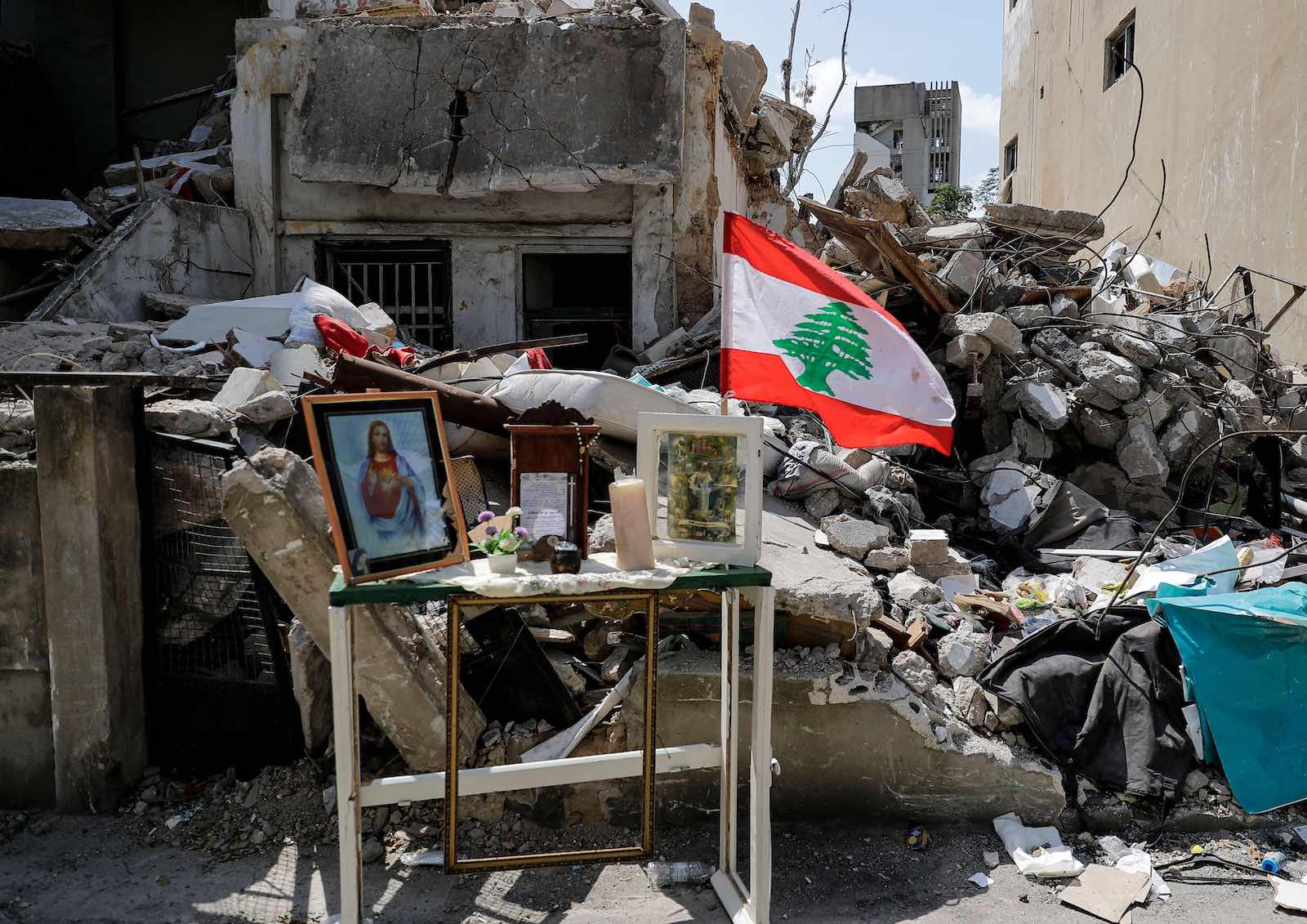 A makeshift Christian shrine in Beirut in the wake of the 4 August blast (Joseph Eid/AFP via Getty Images)