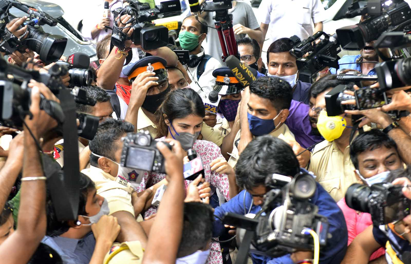 Indian actress Rhea Chakraborty arrives for questioning at the Narcotics Control Bureau office in Mumbai, 6 September 2020 (Anshuman Poyrekar/Hindustan Times via Getty Images)