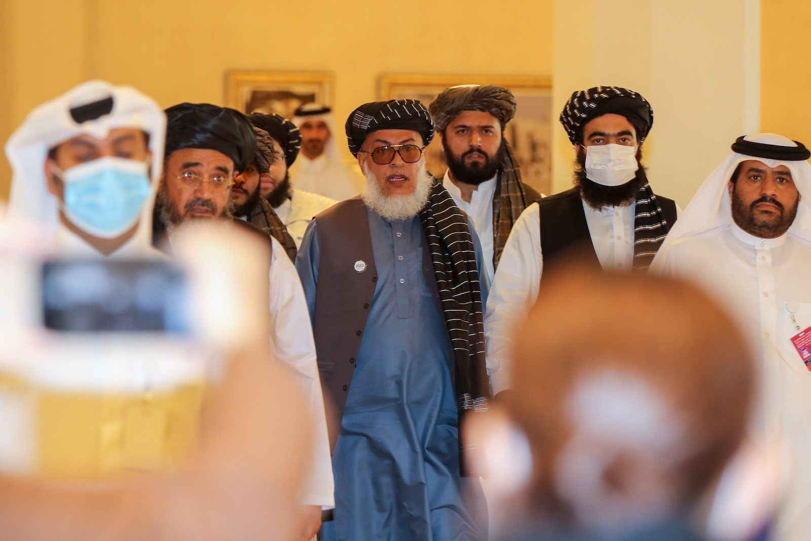 Taliban negotiator Mohammad Abbas Stanekzai arrives for intra-Afghan talks in Doha, Qatar, 12 September 2020 (Karim Jaafar/AFP via Getty Images)