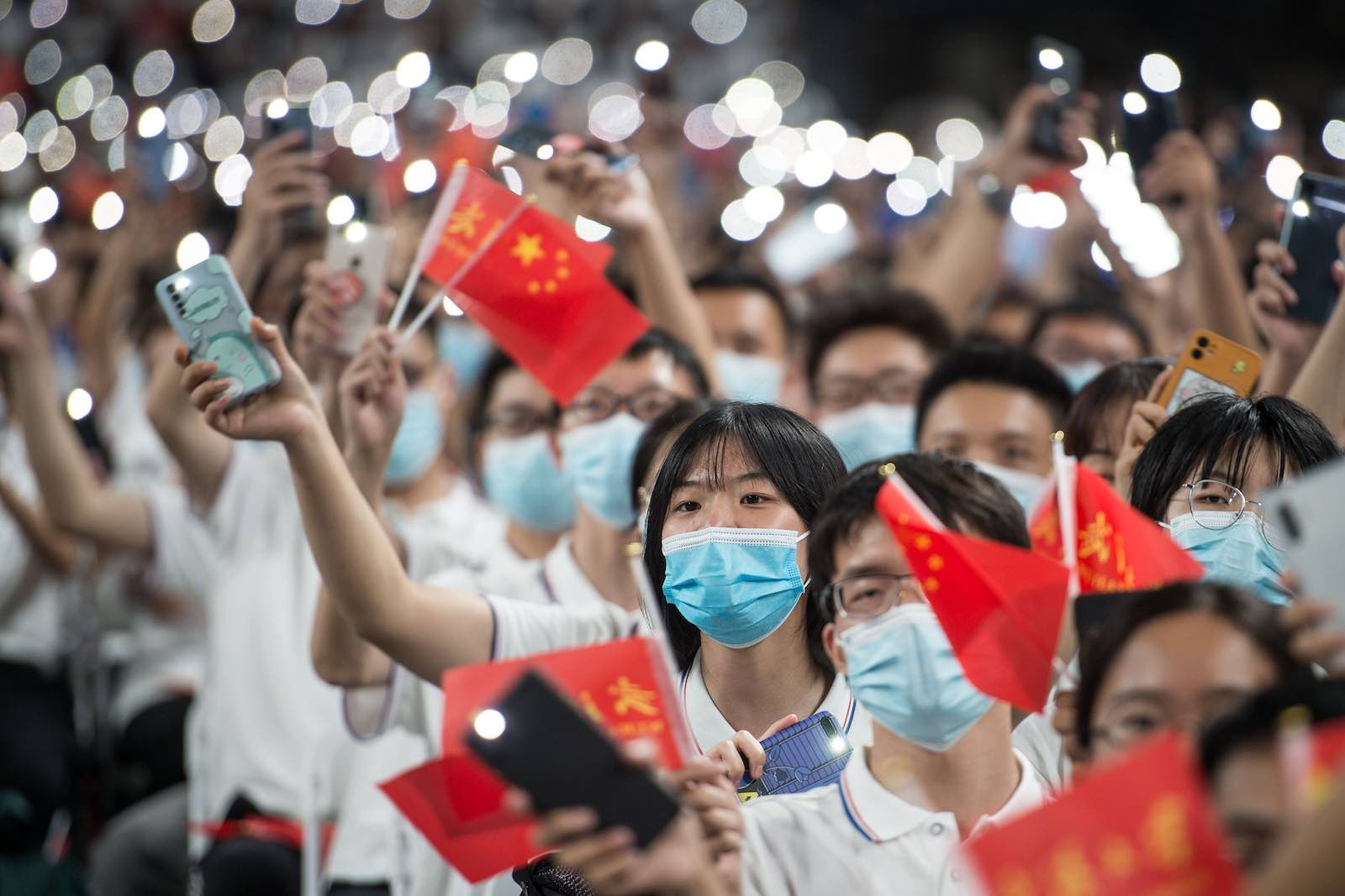 First-year students on 26 September a commencement ceremony at Wuhan University in Wuhan, China (STR/AFP via Getty Images)