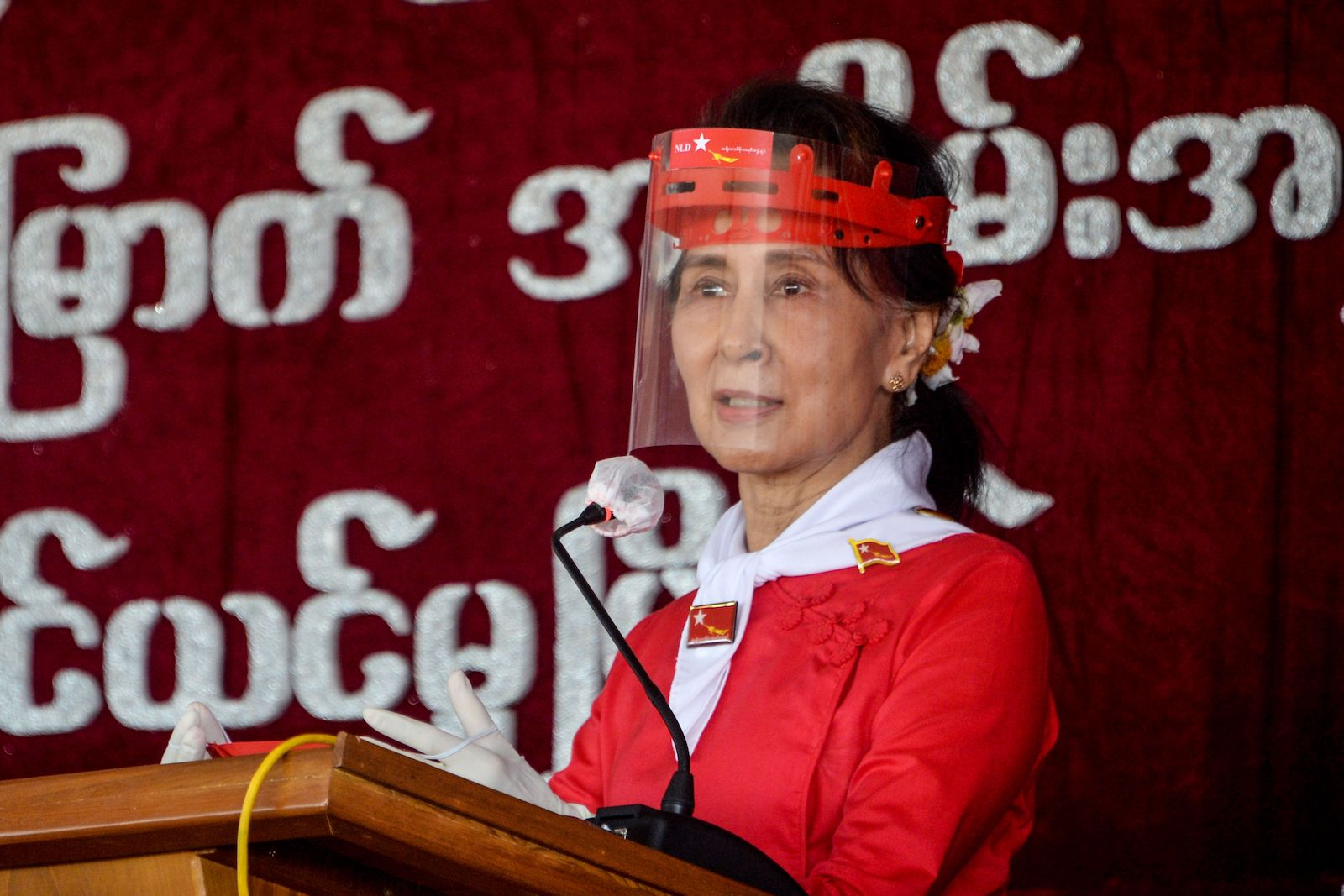 Myanmar's political leader Aung San Suu Kyi at a ceremony in Naypyidaw, 27 September 2020 (Thet Aung/AFP via Getty Images)