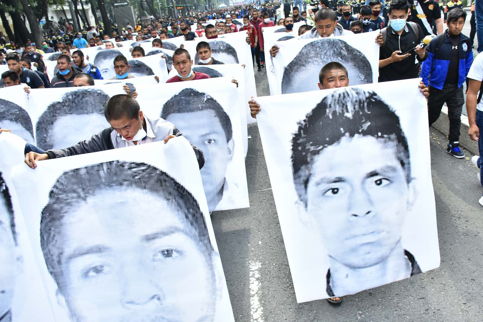 """A protest demanding justice for """"The 43"""" on the anniversary of their disappearance in 2014, Mexico City, 26 September 2020 (Carlos Tischler/Eyepix Group/Barcroft Media via Getty Images)"""