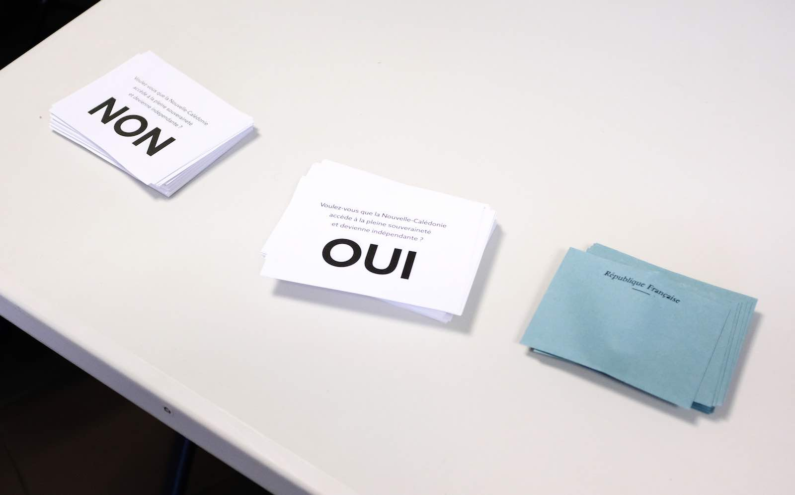 Voting forms in the referendum on independence on the French South Pacific territory of New Caledonia in Noumea on 4 October (Theo Rouby/AFP via Getty Images)