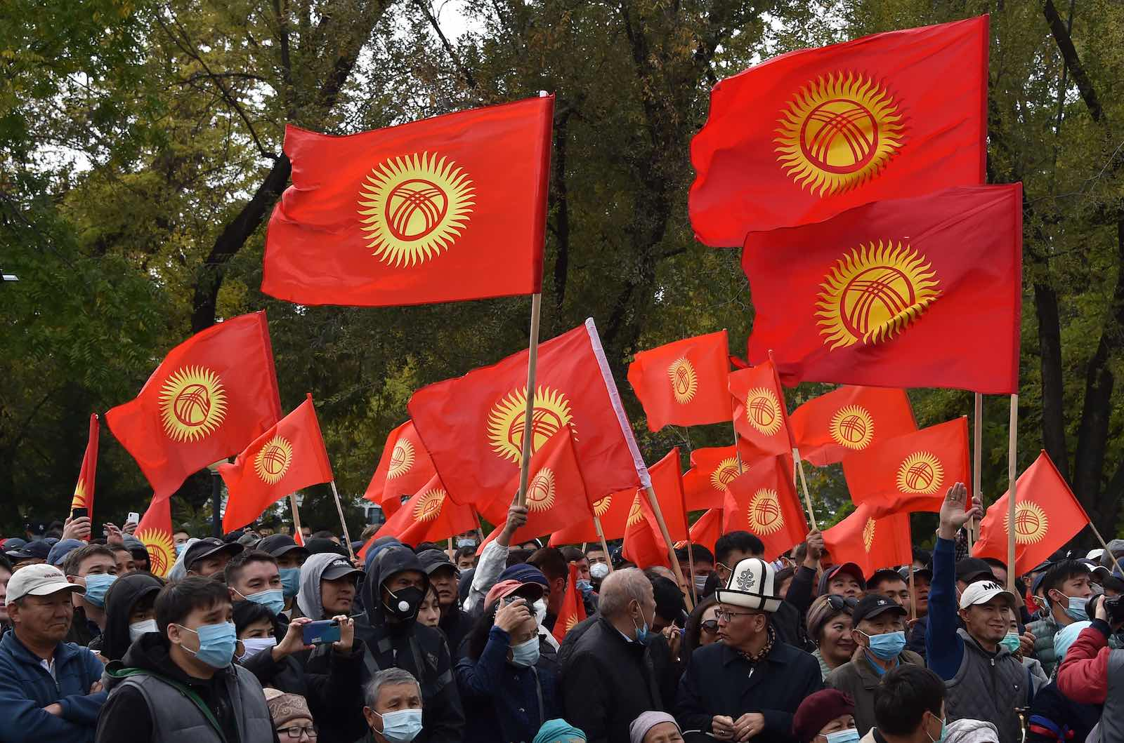 Supporters of former Kyrgyzstan President Almazbek Atambayev attend a rally in Bishkek, 9 October 2020 (Vyacheslav Oseledko/AFP via Getty Images)