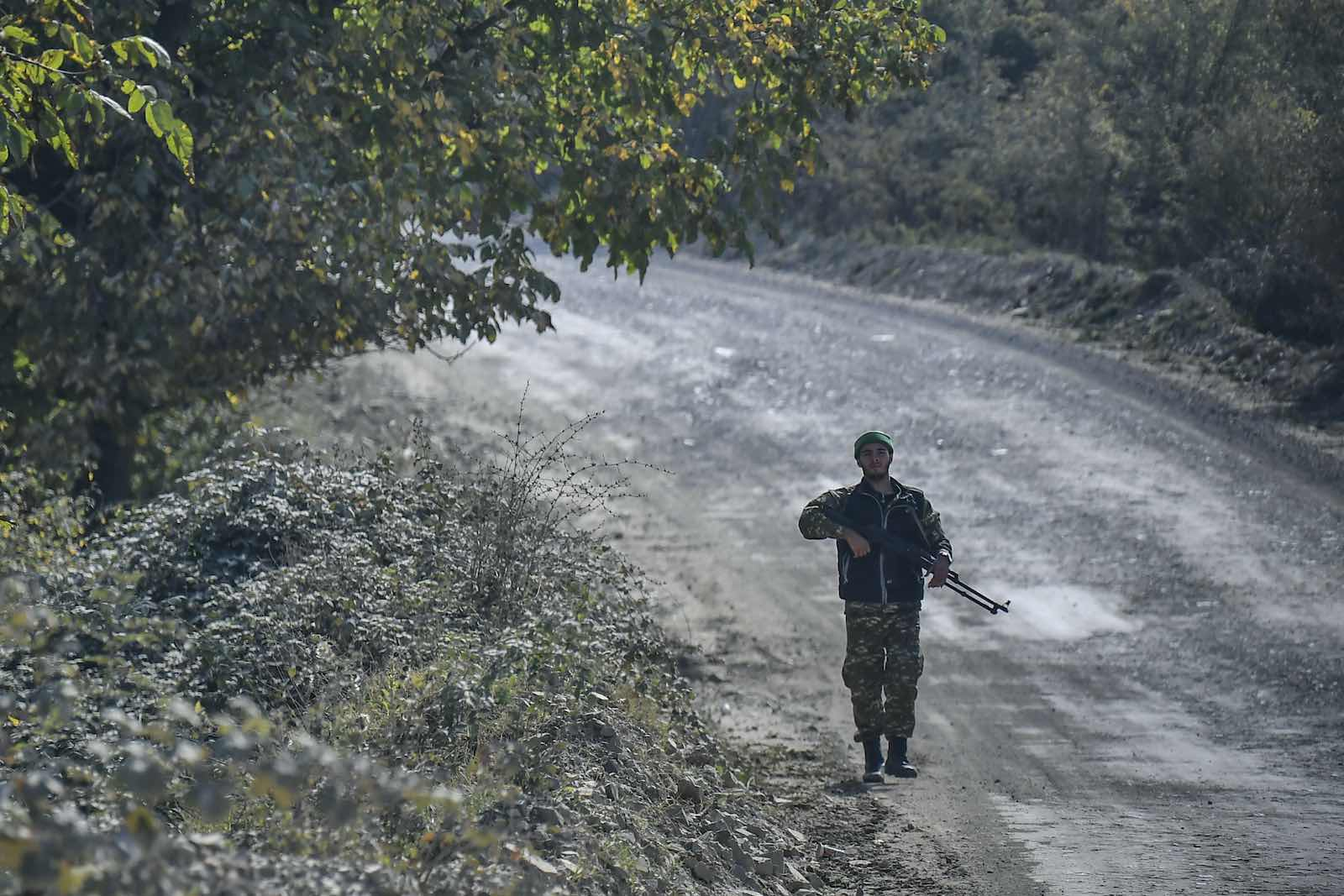 An Armenian soldier on 15 October during the ongoing fighting between Armenia and Azerbaijan over the disputed region of Nagorno-Karabakh (Aris Messinis/AFP via Getty Images)