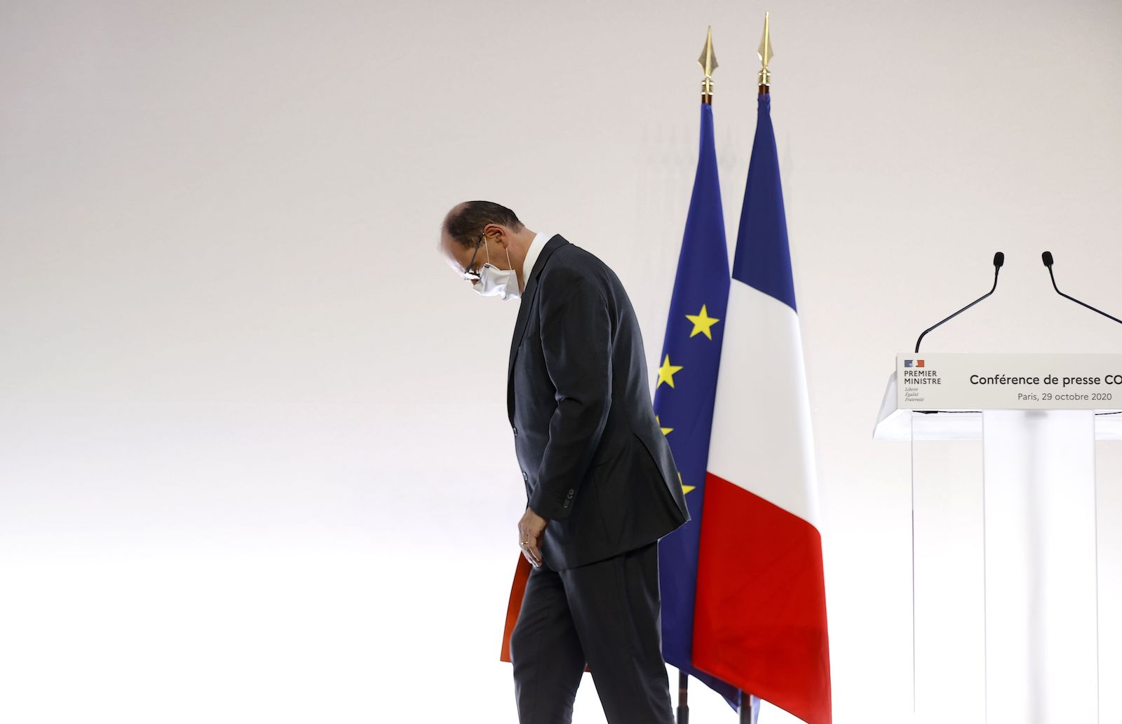 French Prime Minister Jean Castex after a press conference on coronavirus lockdown measures, Paris, 29 October 2020 (AFP via Getty Images)
