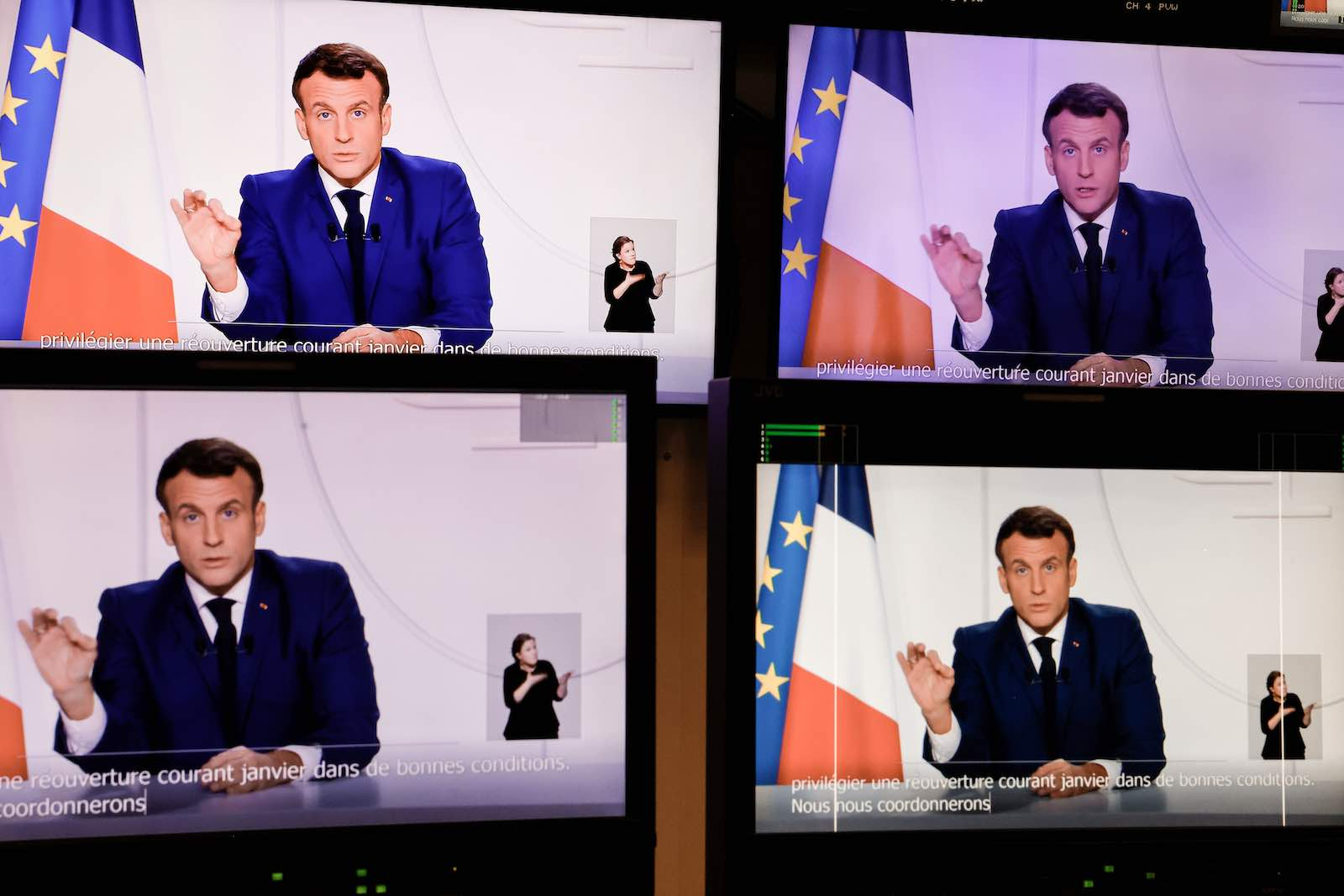 French President Emmanuel Macron during a televised address to the nation on the Covid-19 pandemic in November (Thomas Coex/AFP via Getty Images)