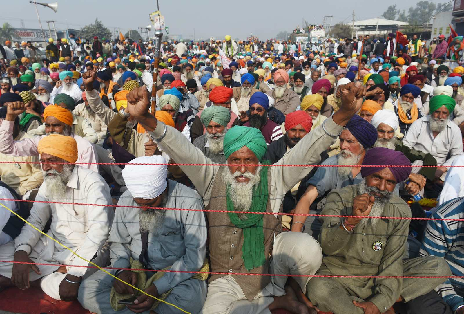 Farmers protesting India's farm reform laws on 1 December in New Delhi (Vipin Kumar/Hindustan Times via Getty Images)