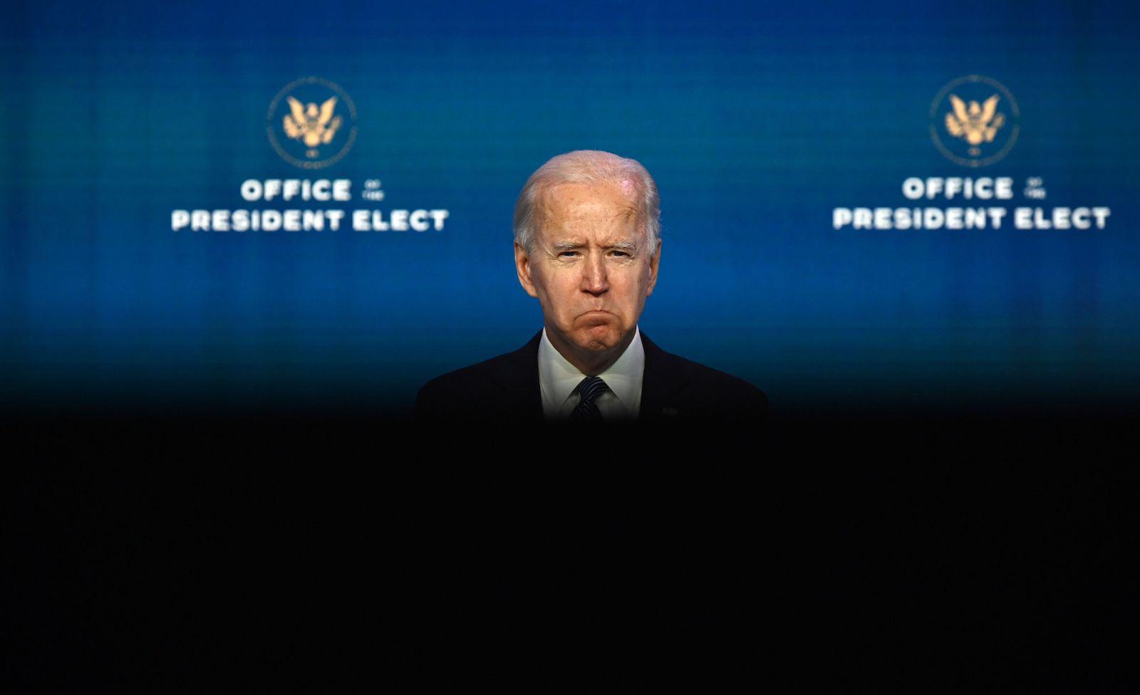 US President-elect Joe Biden in Wilmington, Delaware, 7 January (Jim Watson/AFP via Getty Images)