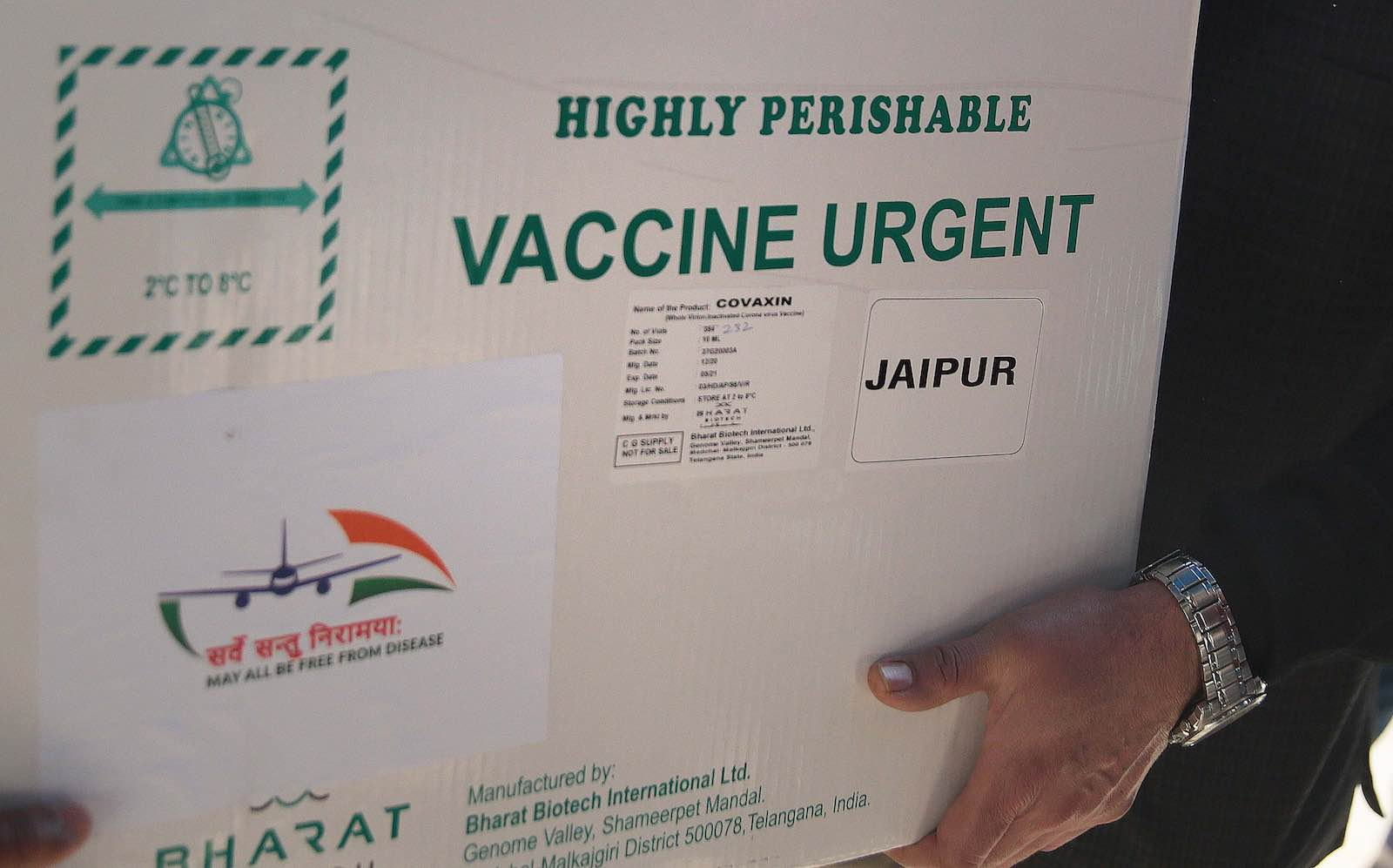 Delivery of the first consignment of 1000 vials of Bharat Biotech's COVAXIN arrived to start Covid-19 vaccination drive from January 16, at State Vaccine Centre on January 13, 2021 in Jaipur, India (Himanshu Vyas/Hindustan Times via Getty Images)