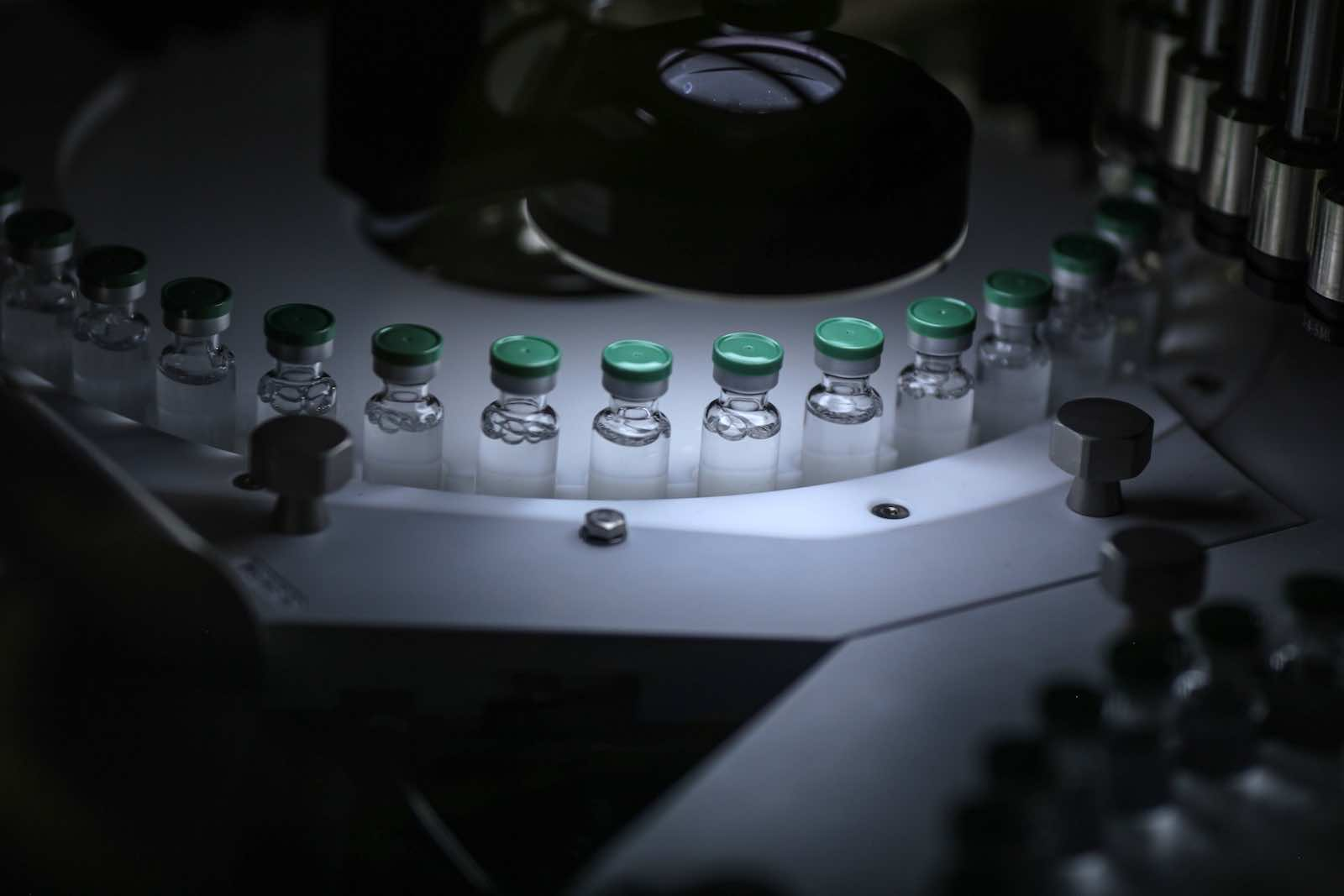 Vials of Covishield, the local name for the Covid-19 vaccine developed by AstraZeneca and the University of Oxford, on the production line at the Serum Institute of India, Pune, Maharashtra (Dhiraj Singh/Bloomberg via Getty Images)