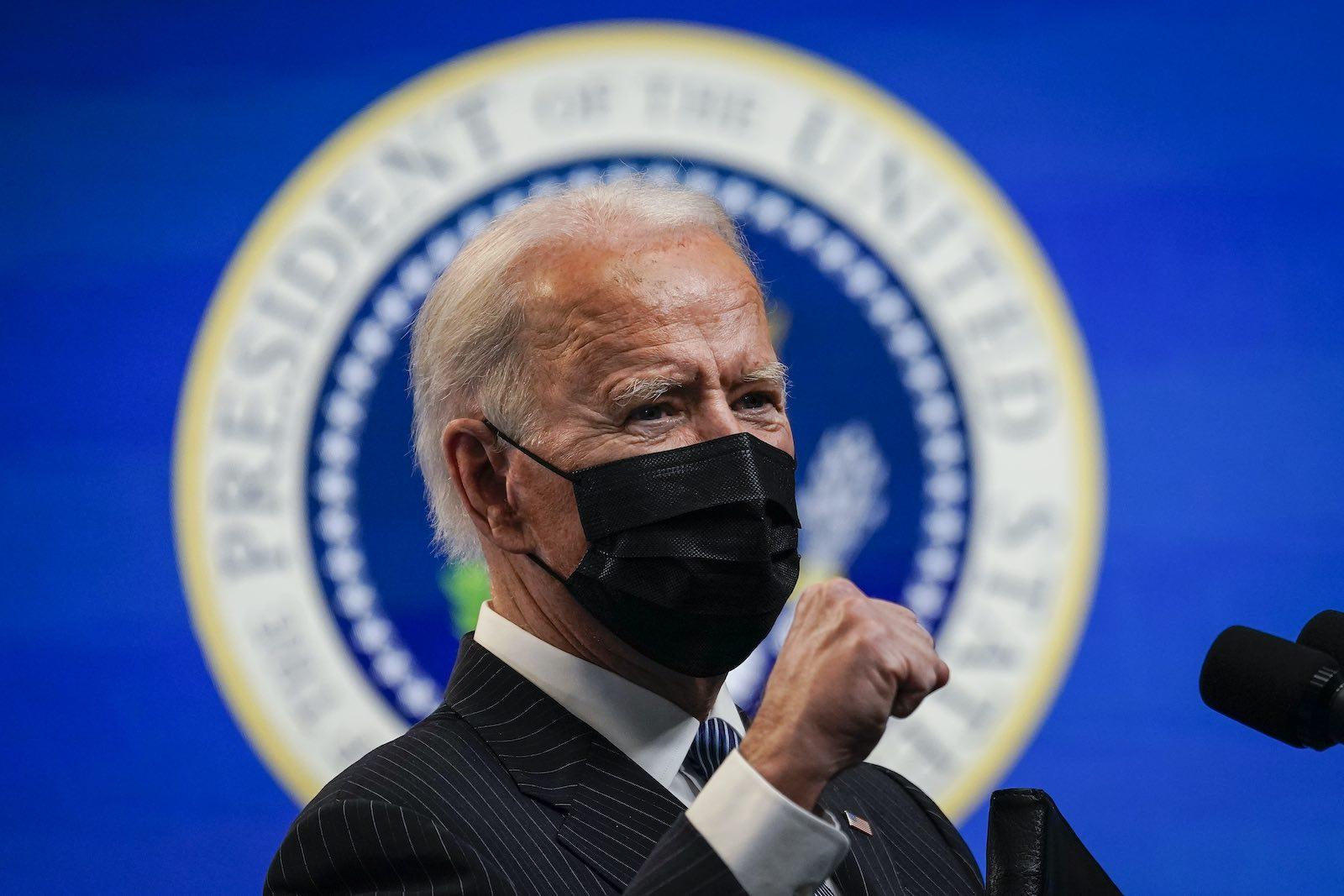 US President Joe Biden speaking at the White House on 25 January (Drew Angerer/Getty Images)
