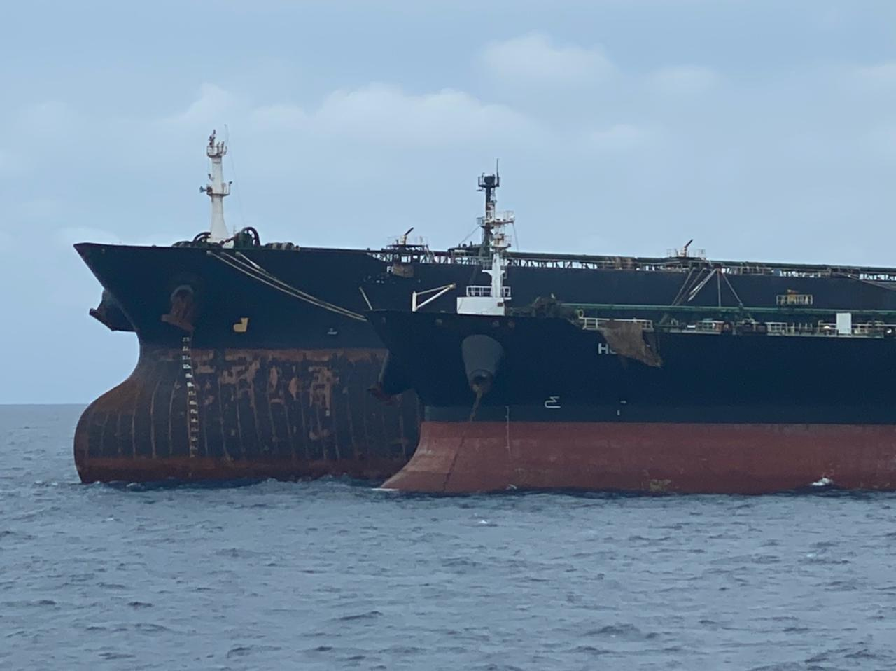 MT Horse and MT Freya detained off West Kalimantan - note the covering over the vessel name (Indonesian Coast Guard/Anadolu Agency via Getty Images)