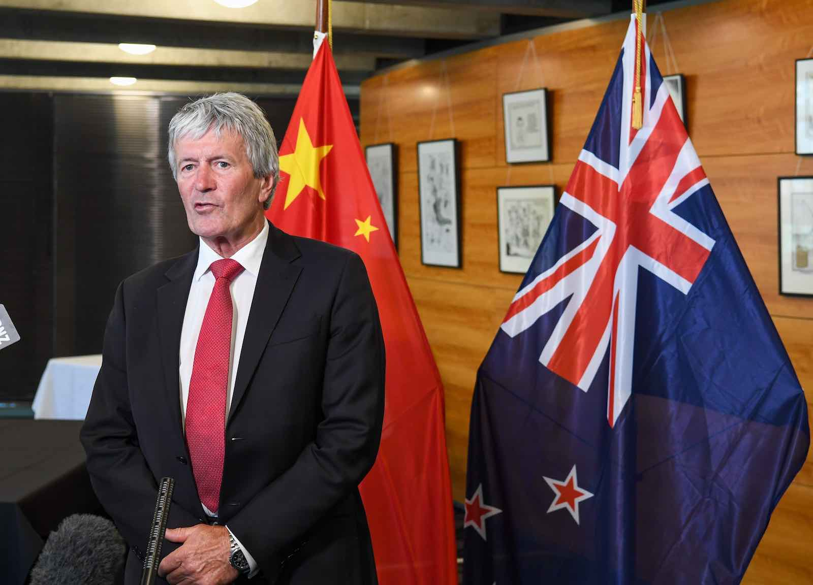 New Zealand's Trade Minister Damien O'Connor announces an upgraded FTA between China and New Zealand in Wellington, New Zealand on 26 January, 2021 (Guo Lei/Xinhua via Getty)