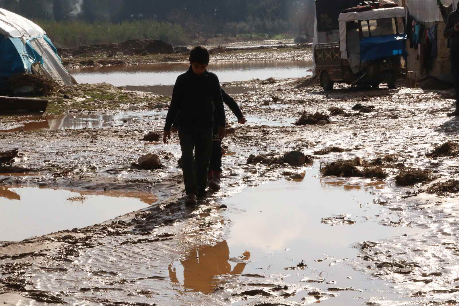 Flooding at a camp in Syria's north-western Afrin province on 31 January (Muhammed Abdullah/Anadolu Agency via Getty Images)