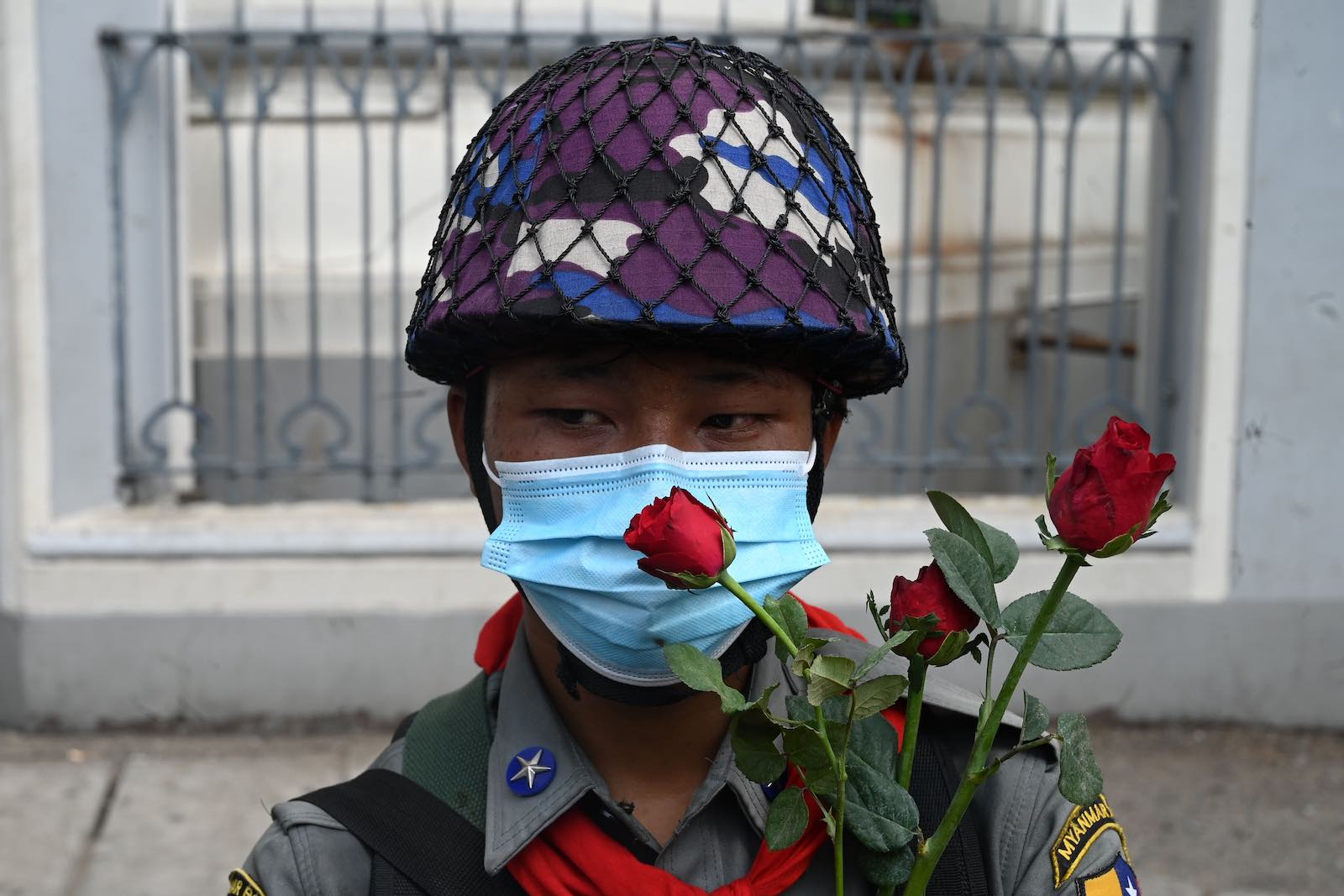 A policeman during a demonstration against the military coup, Yangon, 7 February (STR/AFP via Getty Images)