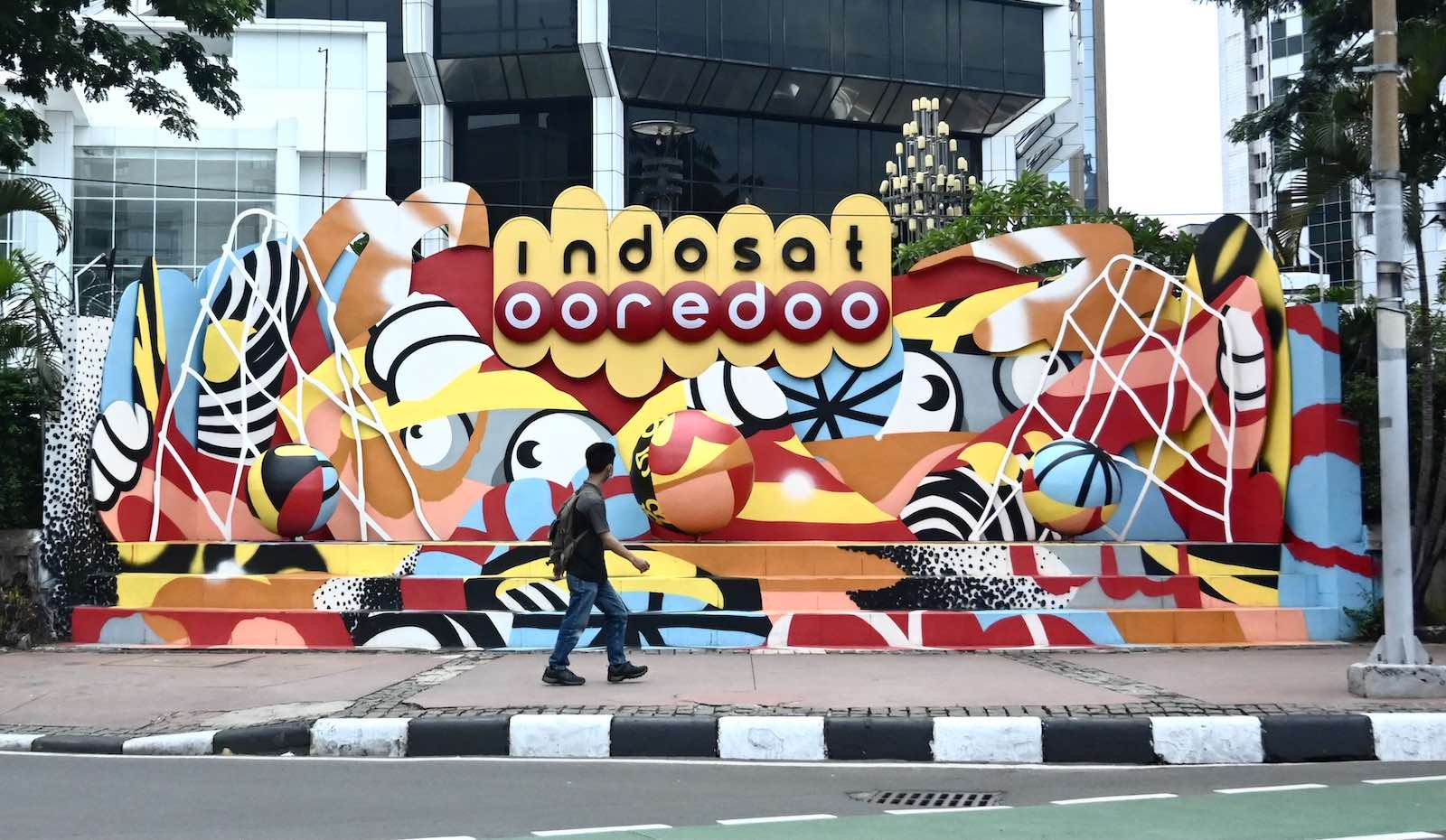 A billboard in Jakarta for Indosat Ooredoo, one of Indonesia's largest telecoms providers (Goh Chai Hin/AFP via Getty Images)
