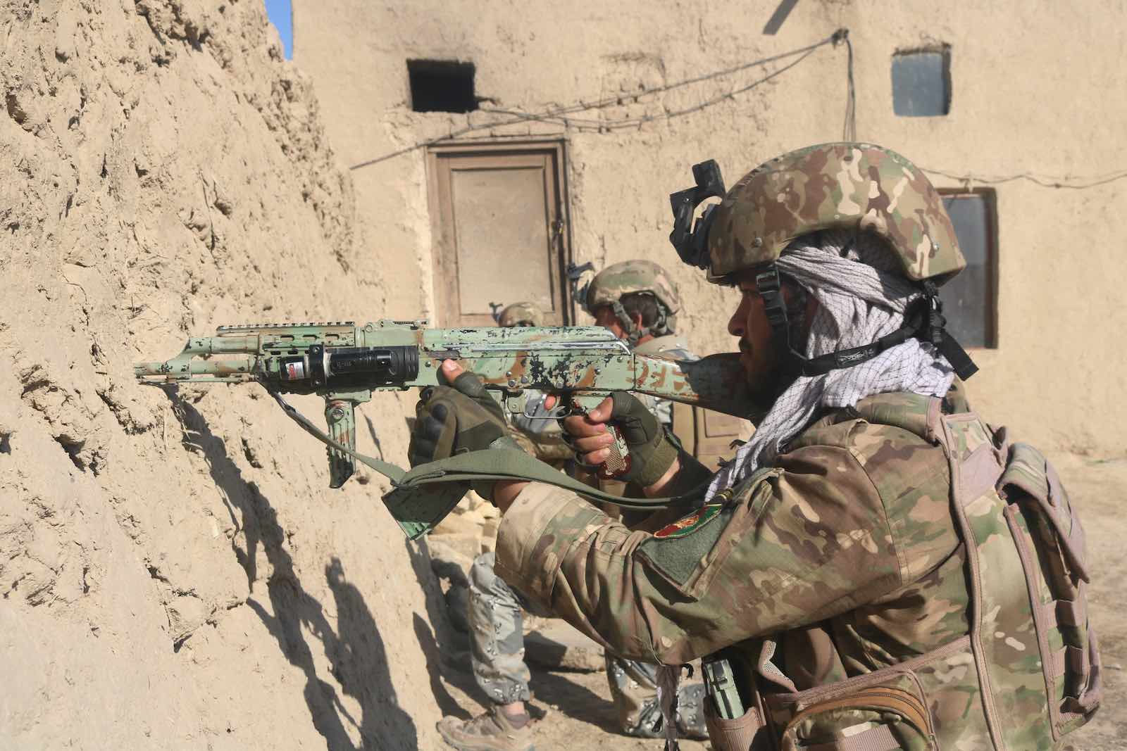 Afghan security forces in an operation against Taliban militants in Jawzjan province, Afghanistan, 16 February 2021 (Mohammad Jan Aria/Xinhua via Getty Images)