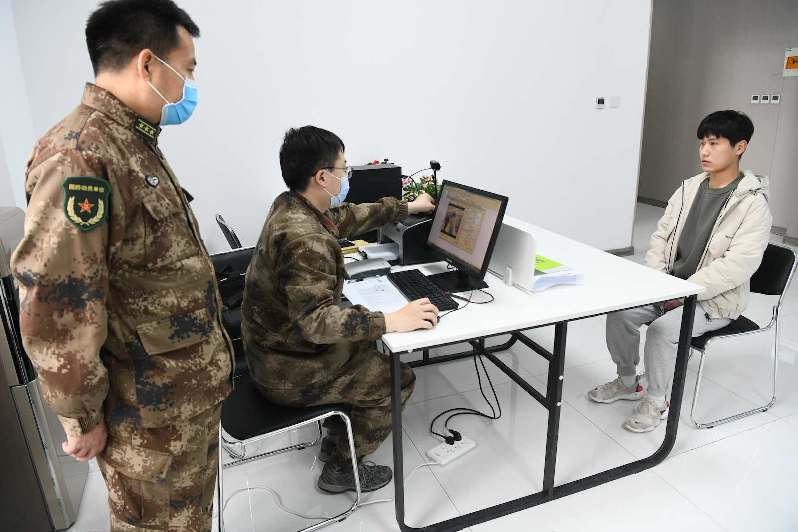 A physical examination station in Guangping county, Hebei province, China, in February (Costfoto/Barcroft Media via Getty Images)