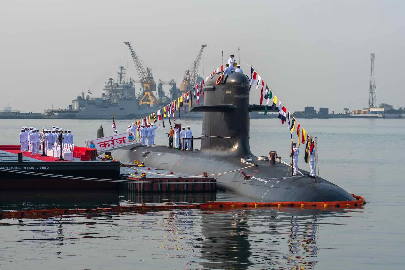 "The commissioning ceremony on 10 March for the Indian Navy's third Scorpene-class submarine ""Karanj"" (Punit Paranjpe/AFP via Getty Images)"