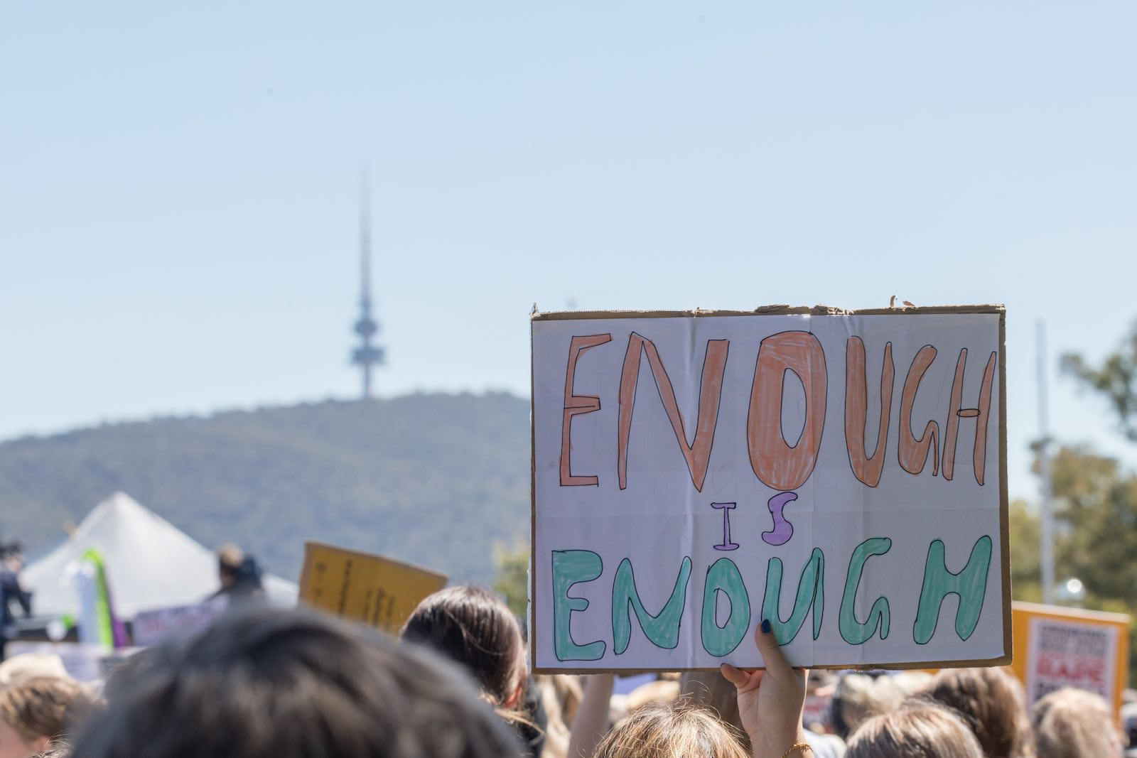 """A """"March4Justice"""" rally in support of women's rights in Canberra, Australia, 15 March (Liu Changchang/Xinhua via Getty Images)"""